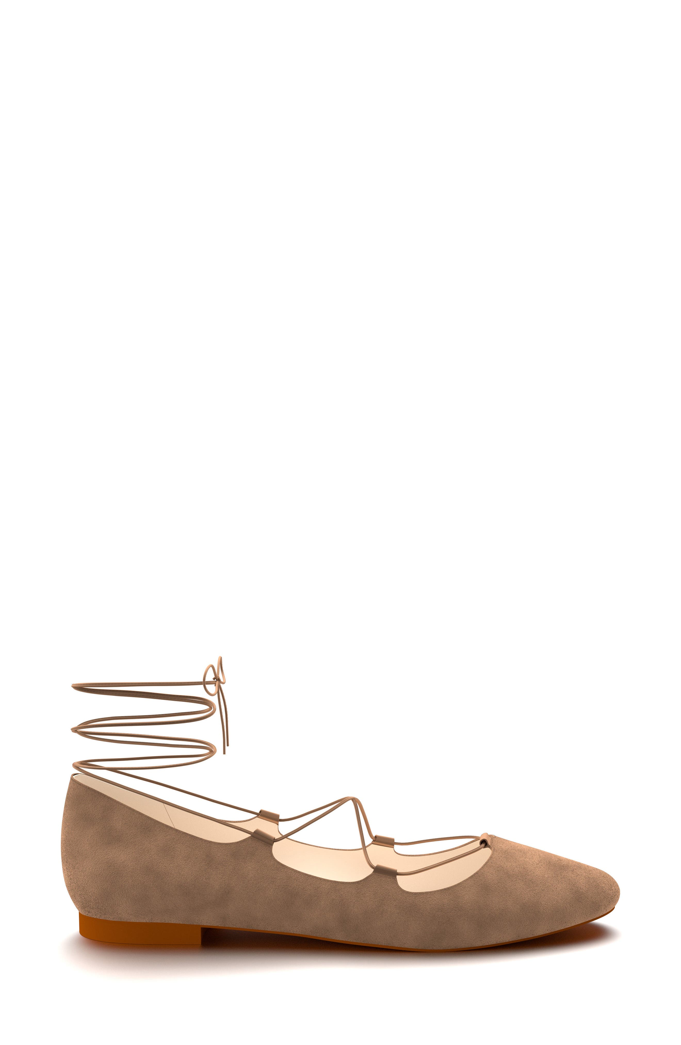 Ghillie Pointy Toe Ballet Flat,                             Alternate thumbnail 2, color,                             Tan Suede
