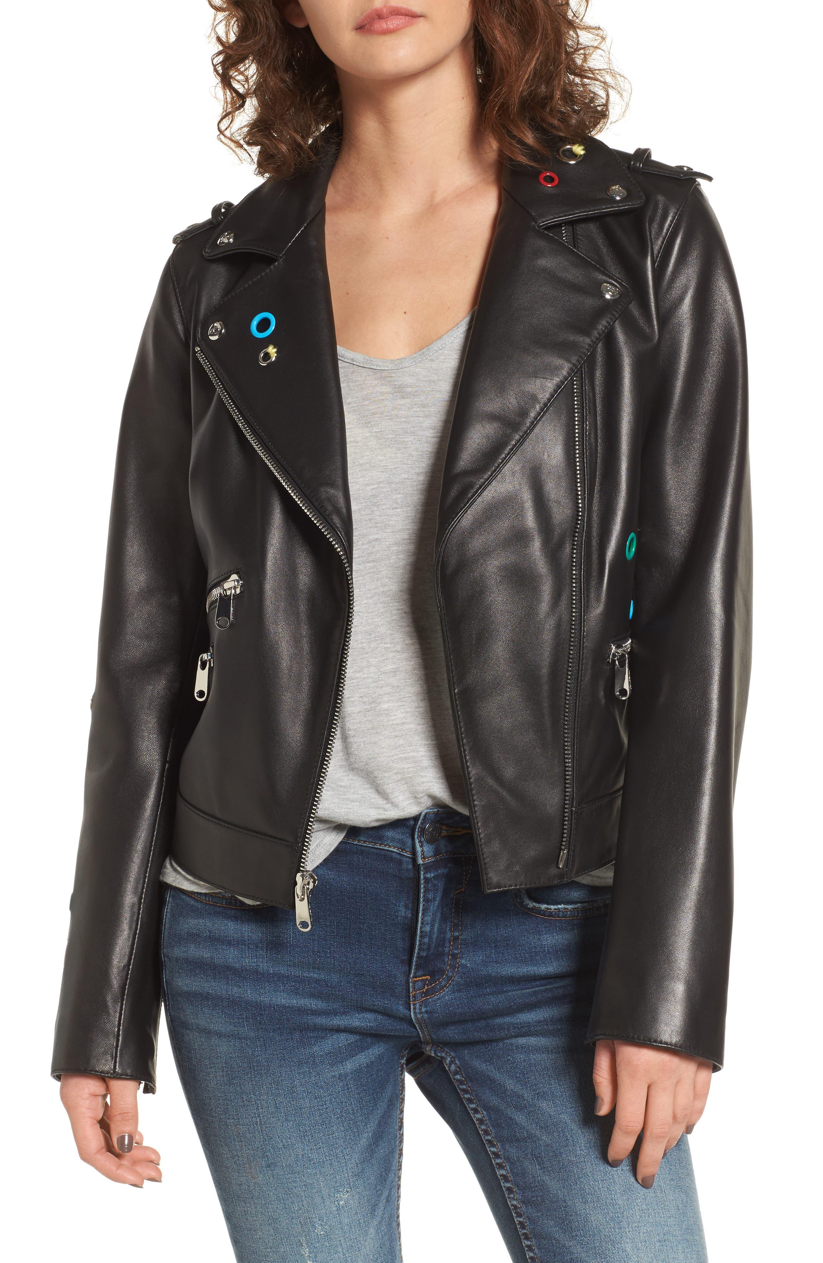 Sam Edelman Grommet Detail Leather Jacket