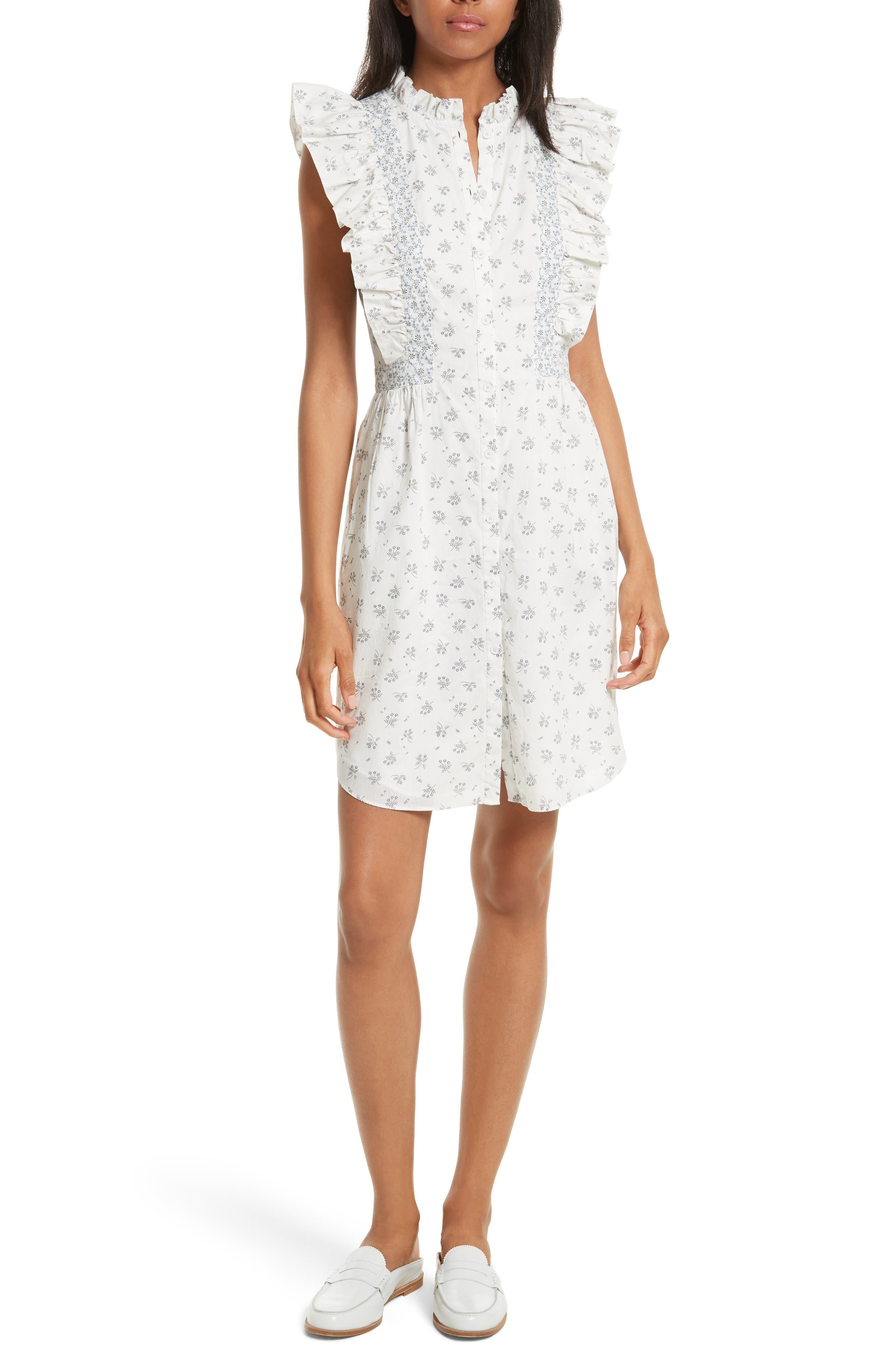 Alternate Image 1 Selected - La Vie Rebecca Taylor Breeze Print Ruffle Shirtdress