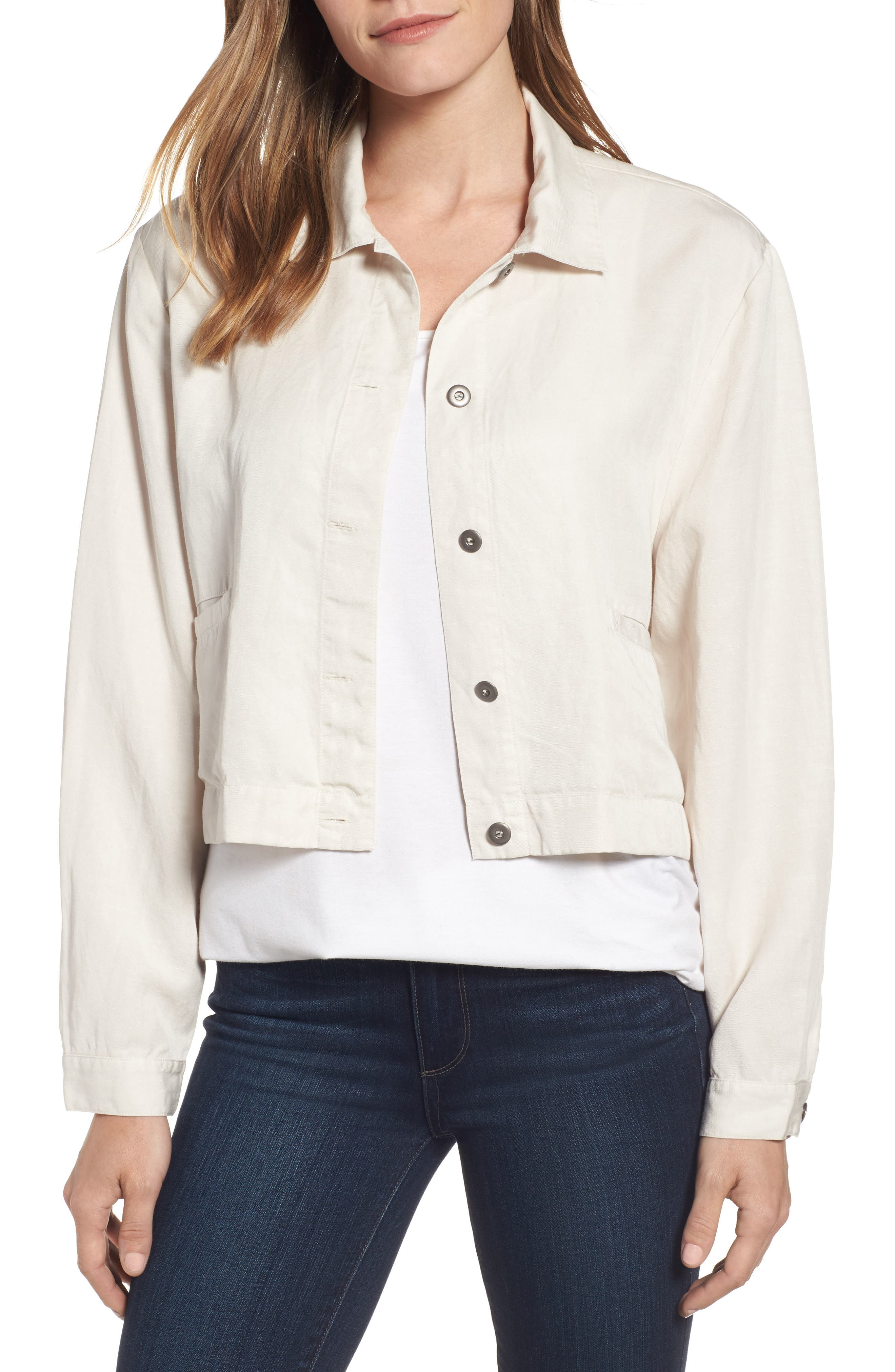 Eileen Fisher Crop Twill Jacket (Regular & Petite)
