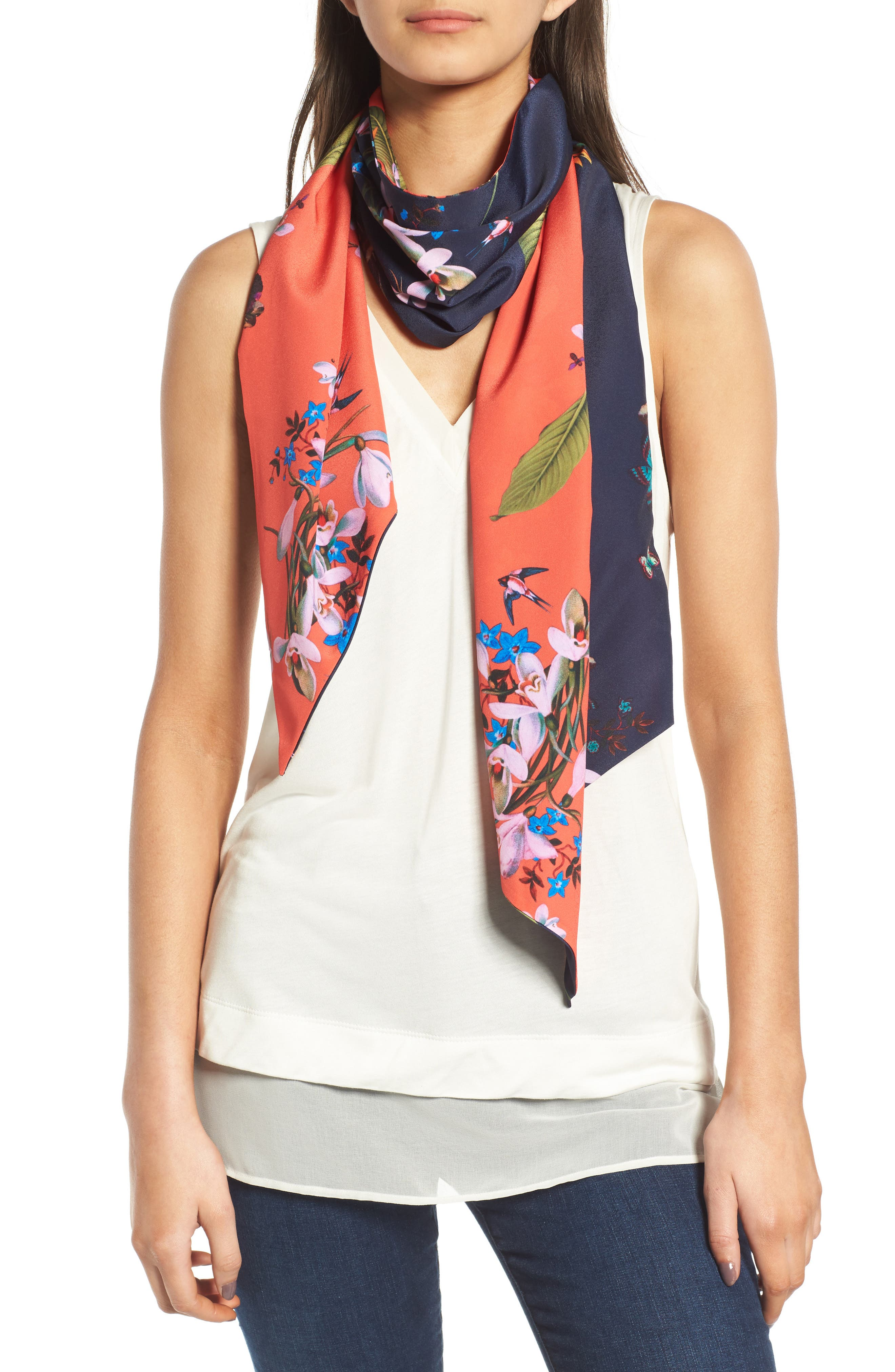 Tropical Oasis Skinny Scarf,                         Main,                         color, Navy