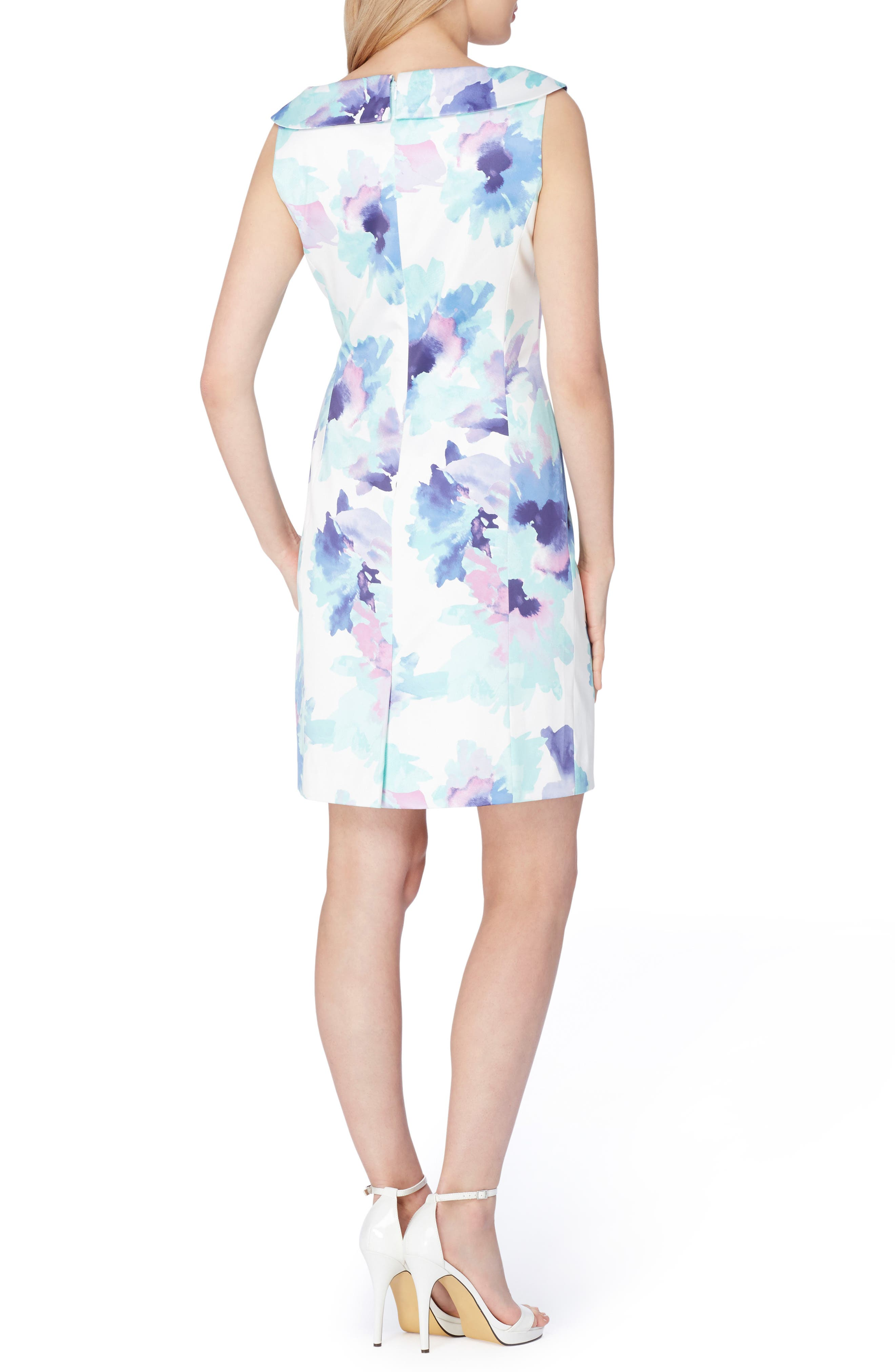 Stretch Satin Sheath Dress,                             Alternate thumbnail 2, color,                             Ivory/ Turquoise/ Royal