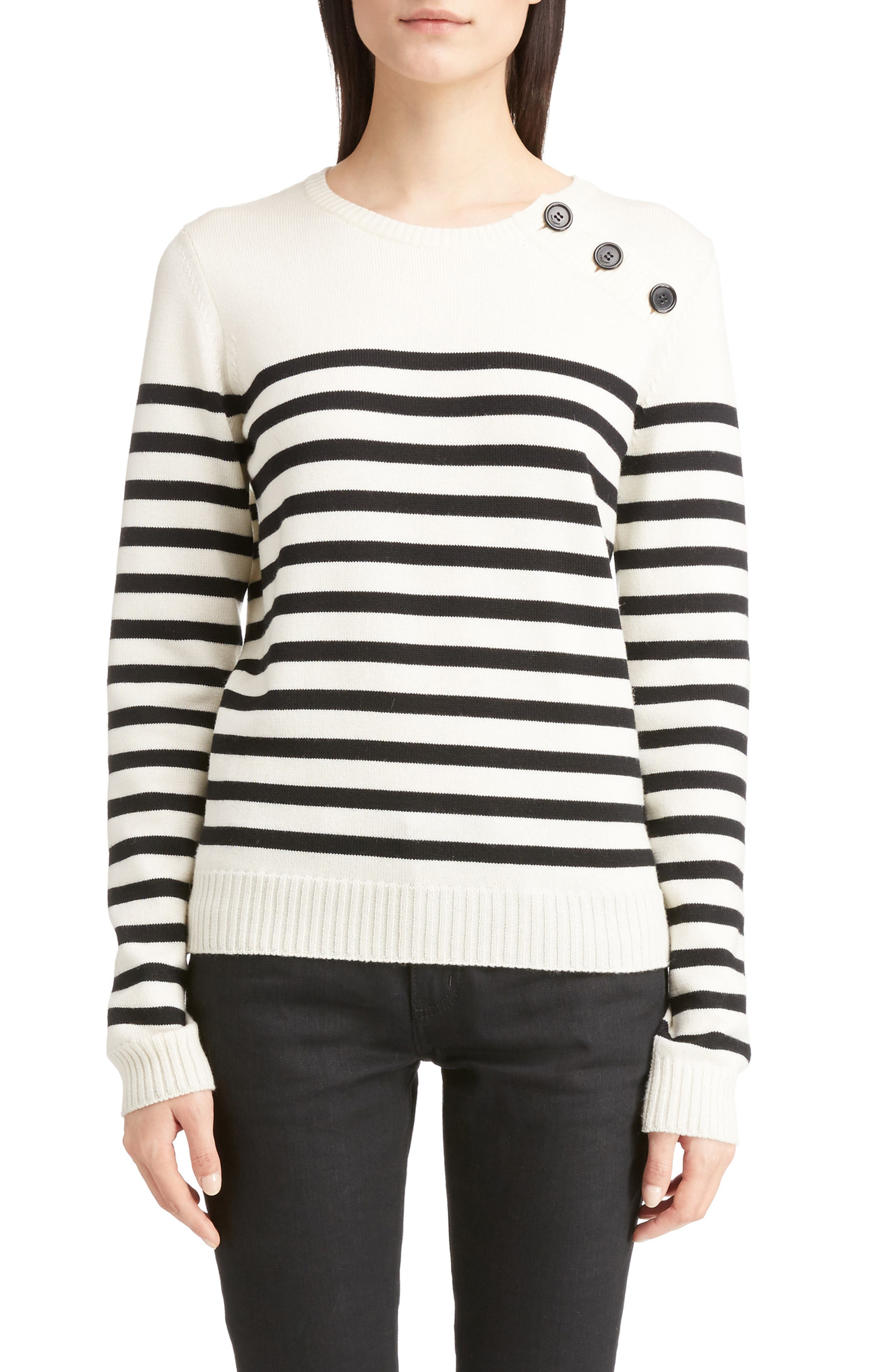 Button Detail Stripe Sweater,                         Main,                         color, White/ Black