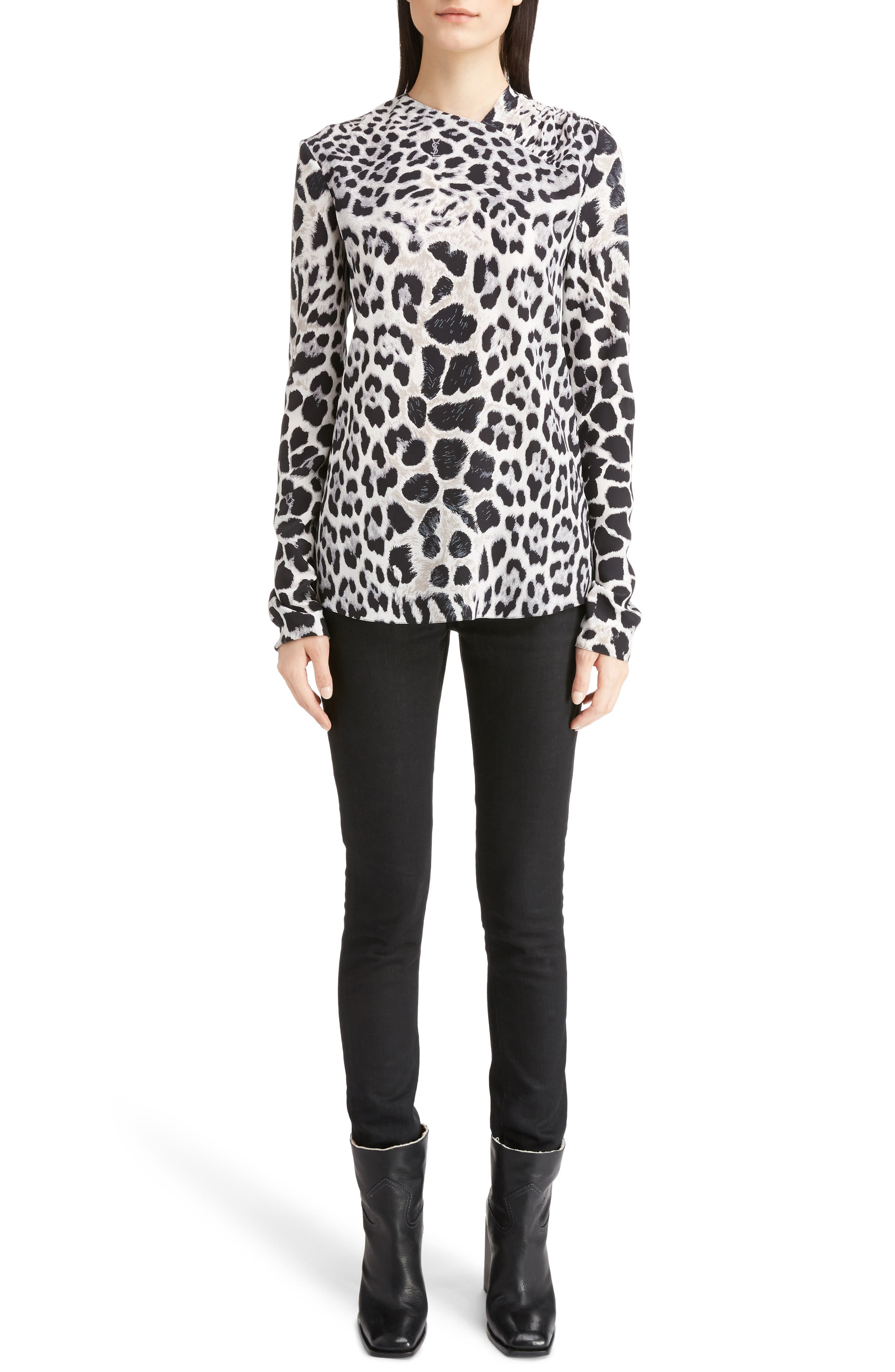 Alternate Image 6  - Saint Laurent Logo & Leopard Print Silk Crêpe de Chine Blouse