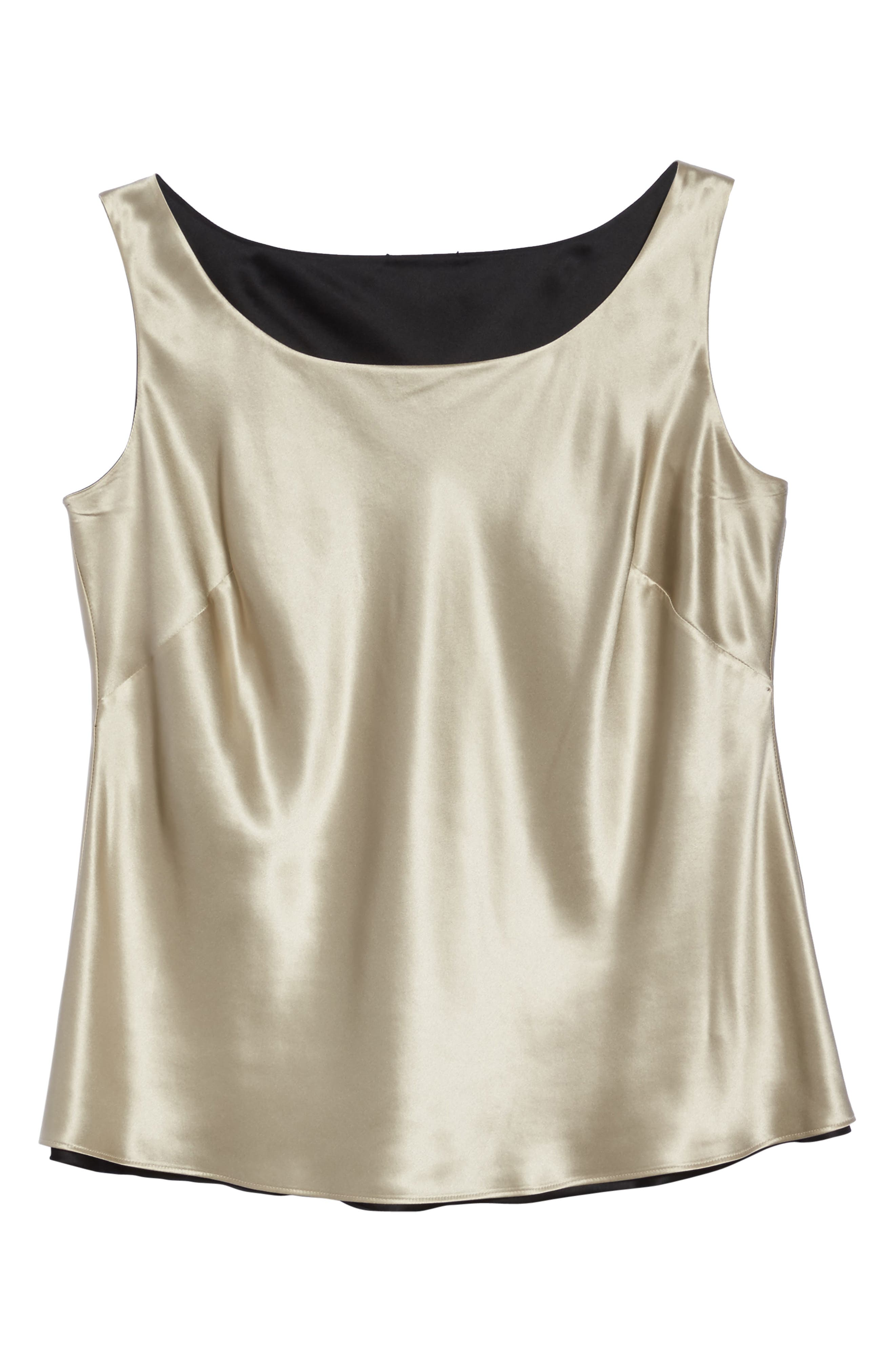 Reversible Silk Tank,                             Alternate thumbnail 6, color,                             Khaki/ Black