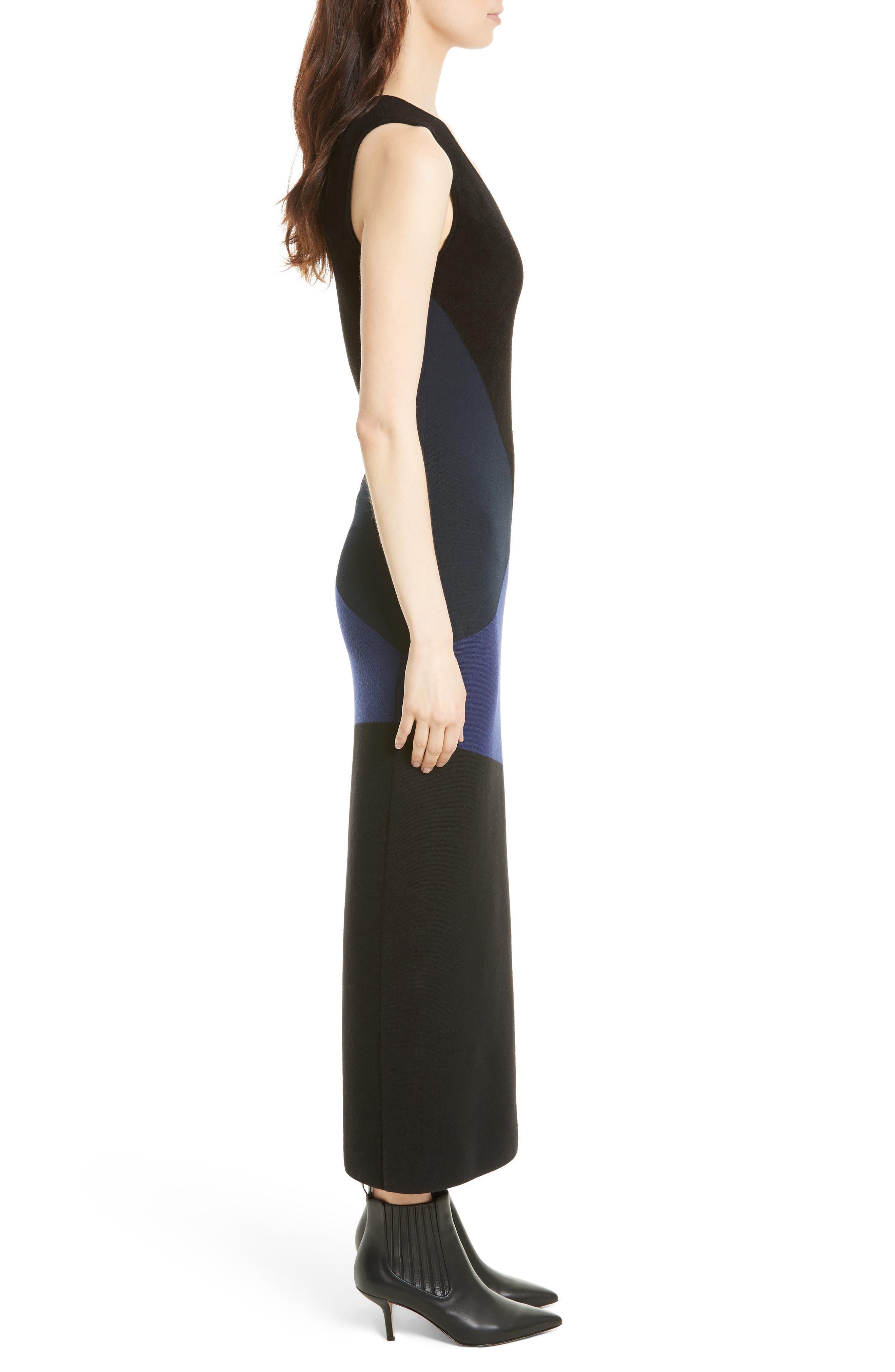 Body-Con Knit Maxi Dress,                             Alternate thumbnail 3, color,                             Black/ Deep Violet