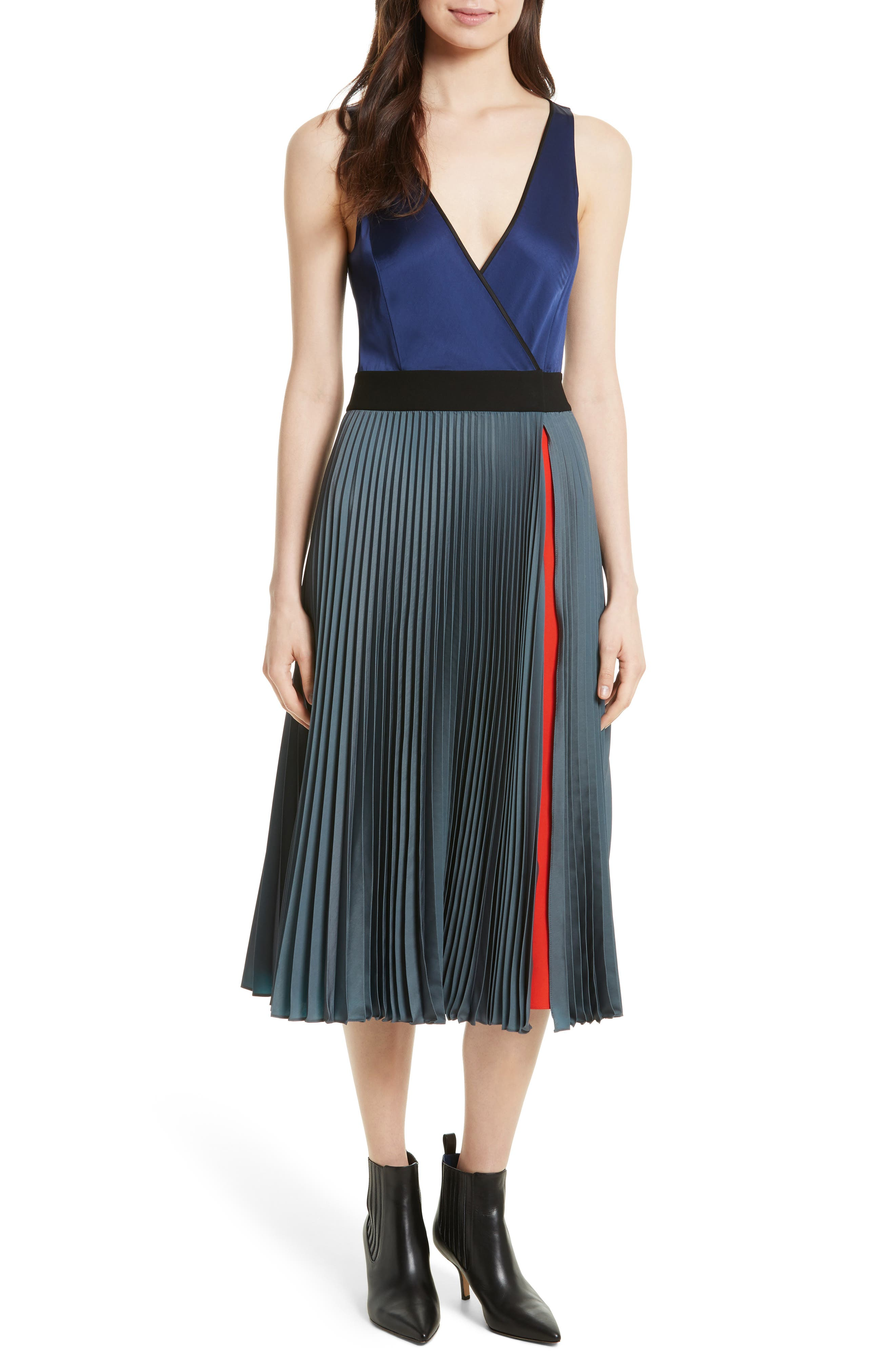 V-Neck Pleated Wrap Dress,                             Main thumbnail 1, color,                             Cerulean Multi