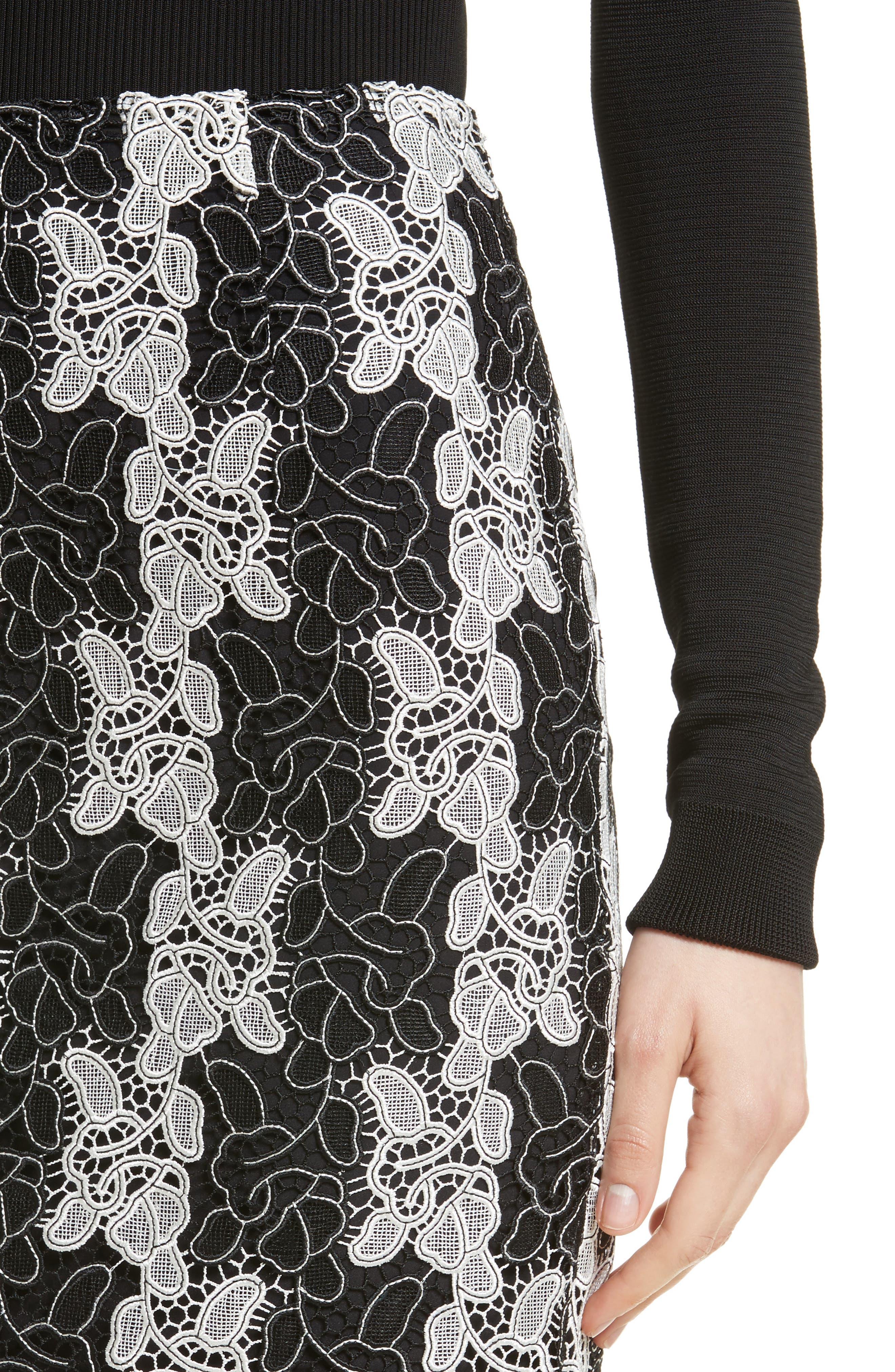 Lace Midi Skirt,                             Alternate thumbnail 4, color,                             Black/ White