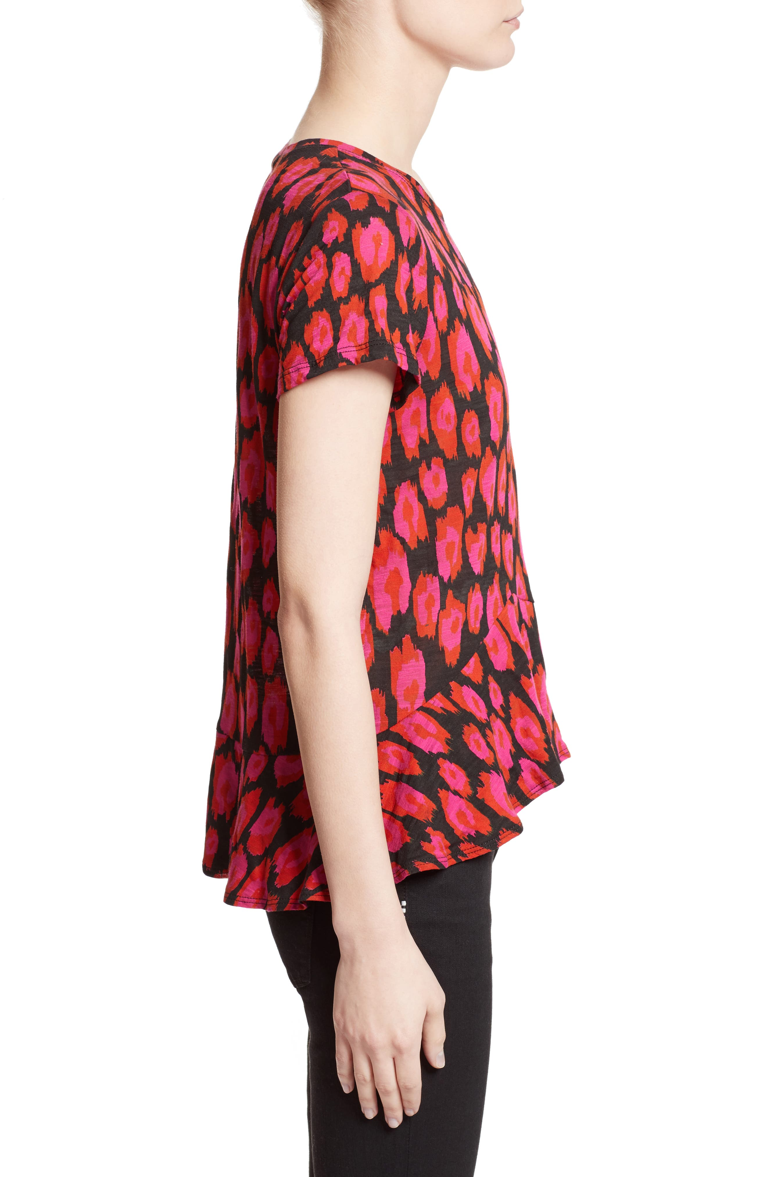 Asymmetrical Ruffle Tee,                             Alternate thumbnail 4, color,                             Black/ Electric Pink/ Pumpkin