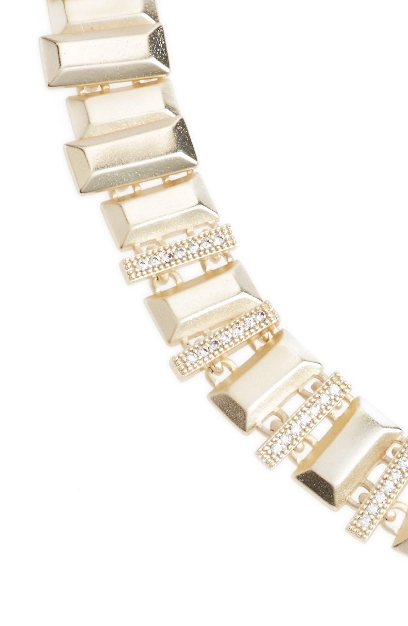 Harper Collar Necklace,                             Alternate thumbnail 3, color,                             White Cz/ Gold