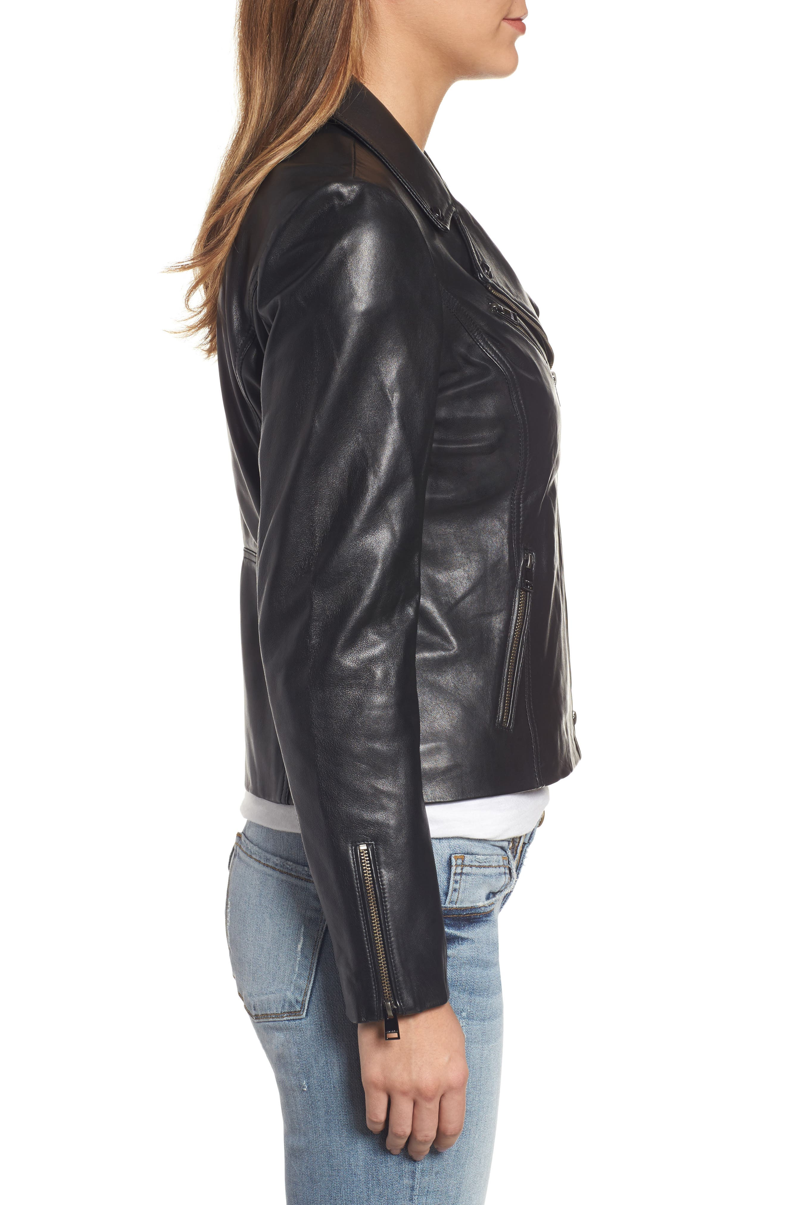 Asymmetrical Zip Leather Biker Jacket,                             Alternate thumbnail 3, color,                             Black
