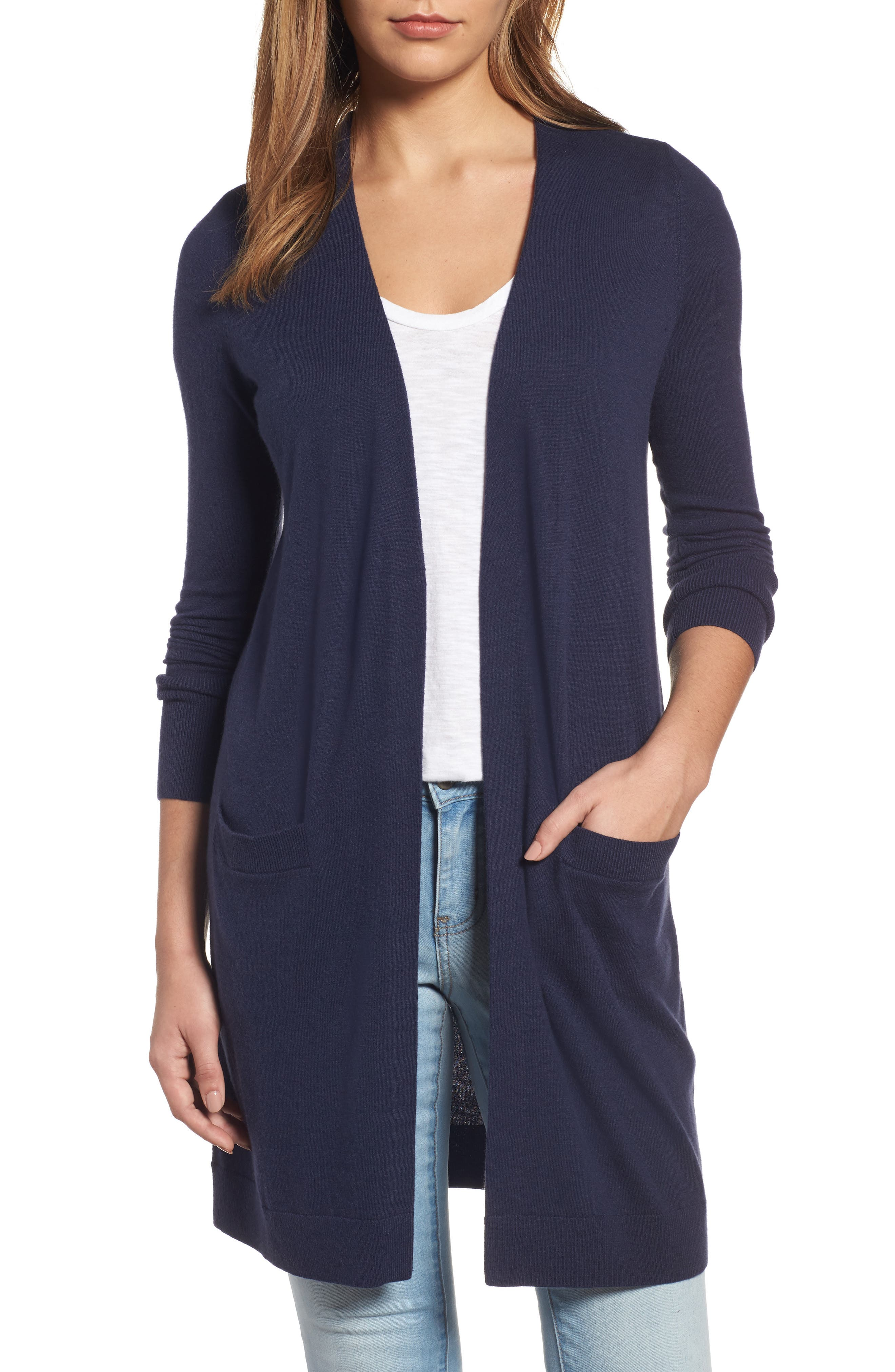 Main Image - Halogen® Long Open Front Cardigan (Regular & Petite)