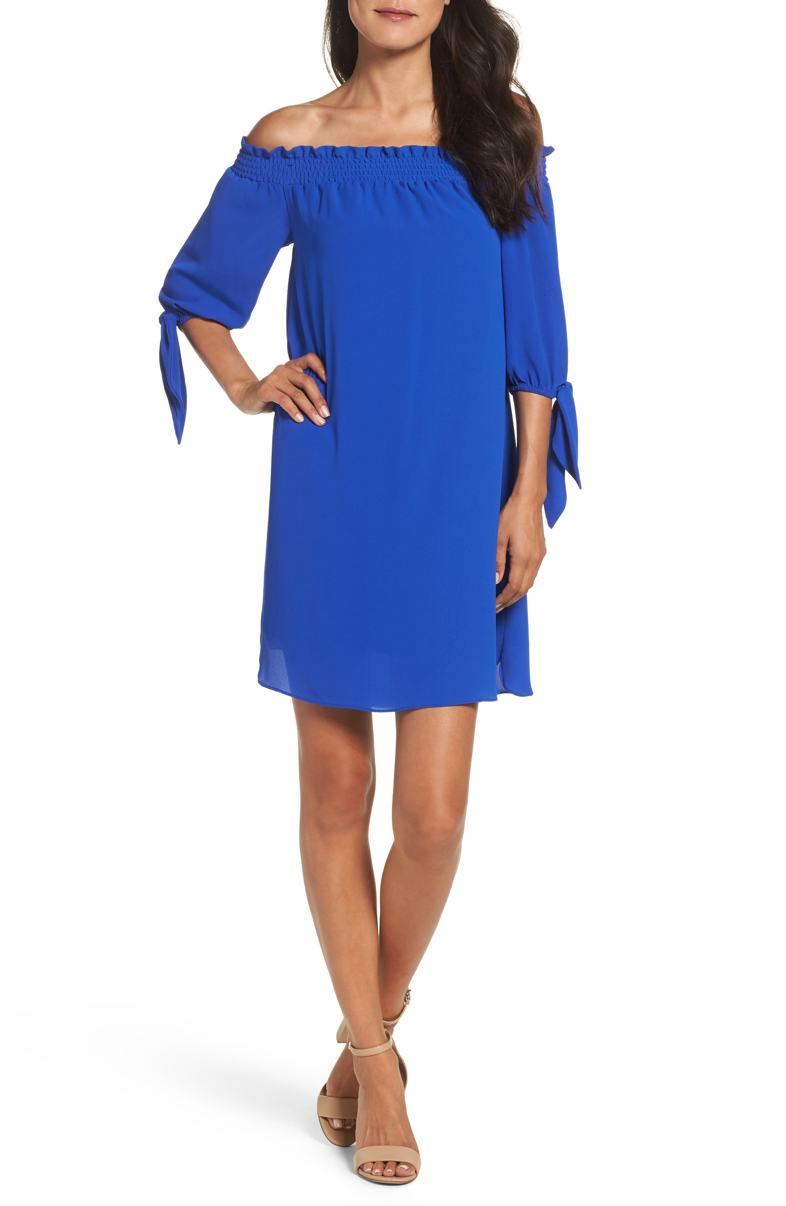 Alternate Image 4  - Vince Camuto Stretch Crepe Shift Dress (Regular & Petite)