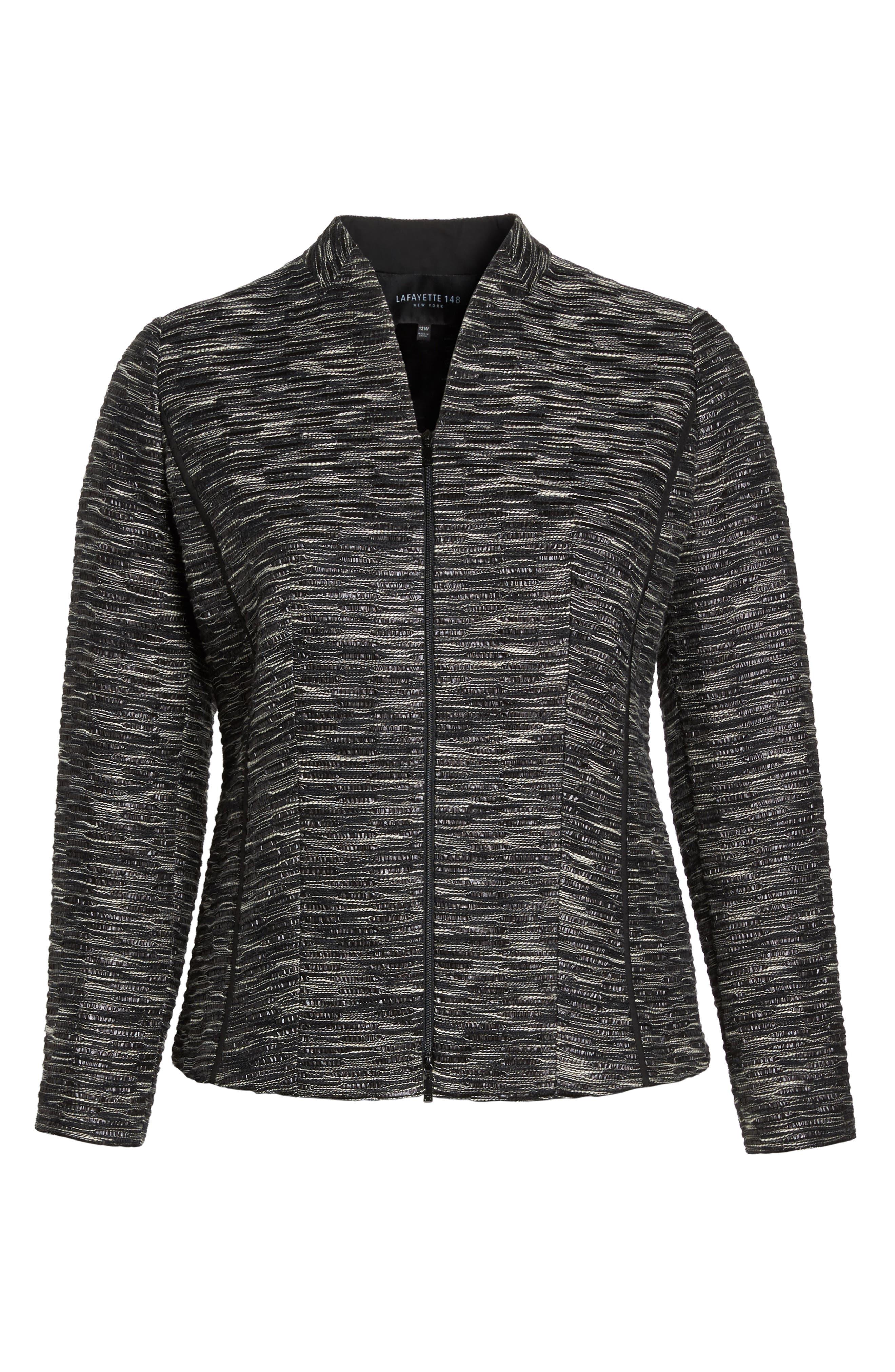 Meryl Zip Front Jacket,                             Alternate thumbnail 6, color,                             Black Multi