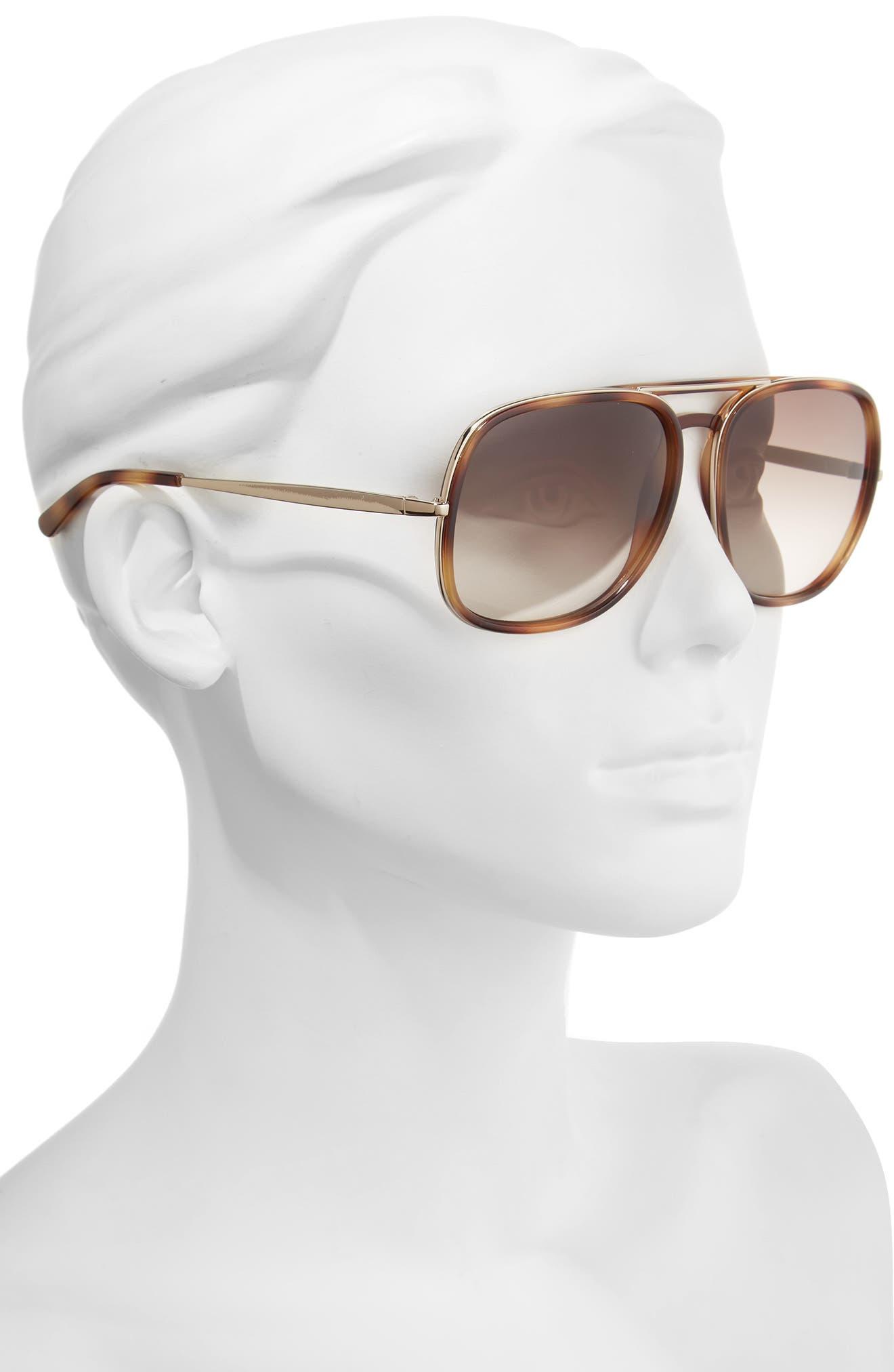 60mm Gradient Lens Navigator Sunglasses,                             Alternate thumbnail 2, color,                             Tortoise
