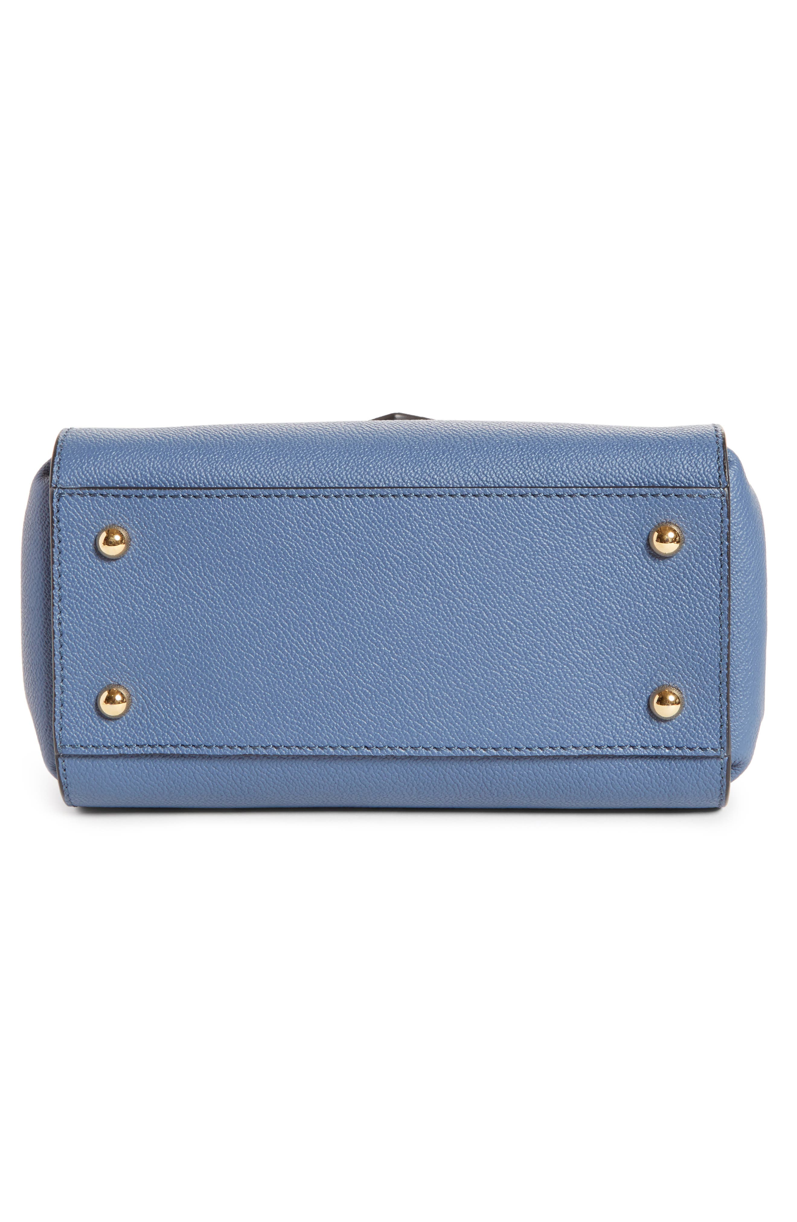 Small Buckle Leather Satchel,                             Alternate thumbnail 6, color,                             Steel Blue