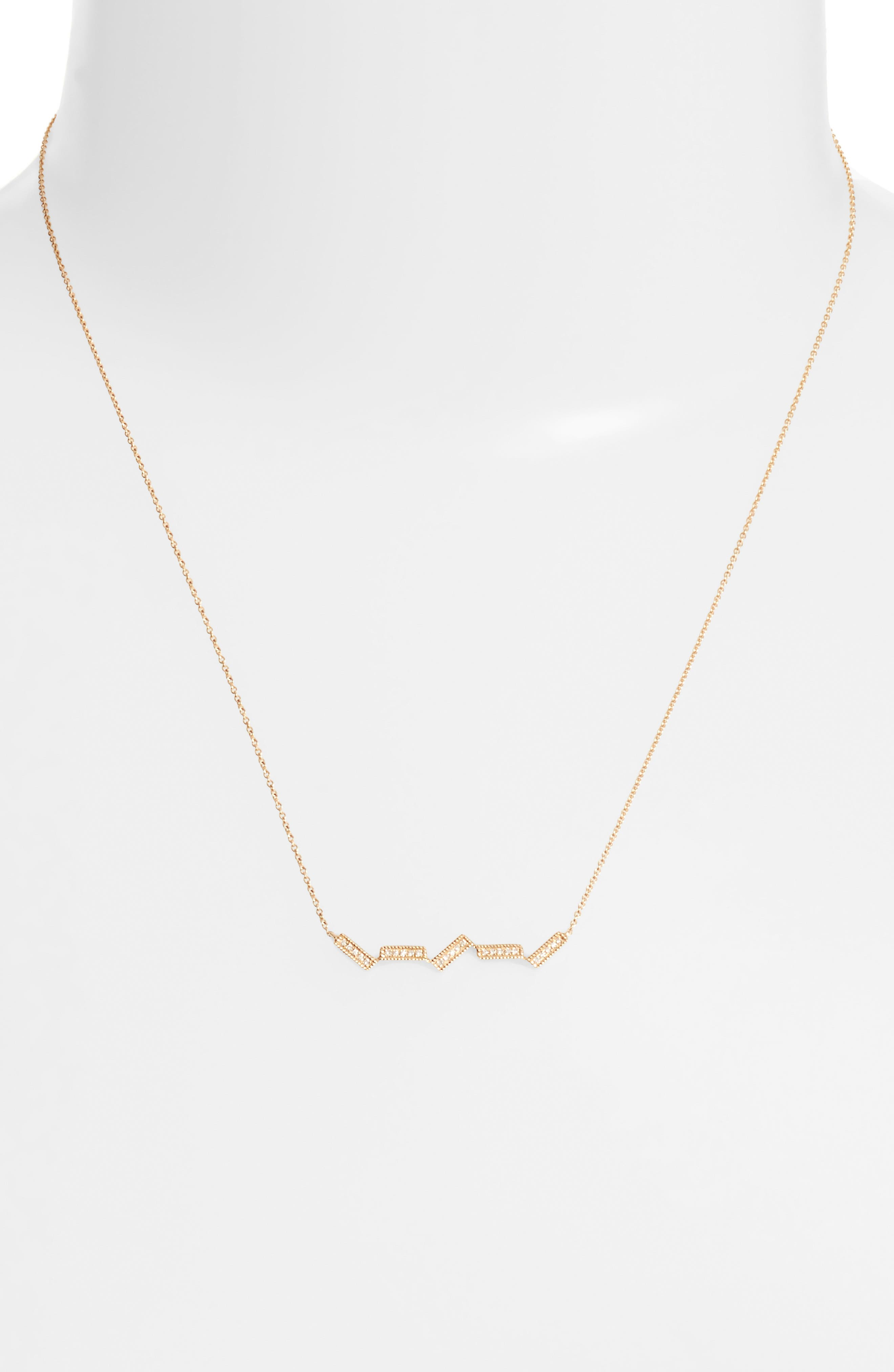 Sylvie Rose Five-Bar Diamond Pendant Necklace,                             Alternate thumbnail 2, color,                             Yellow Gold