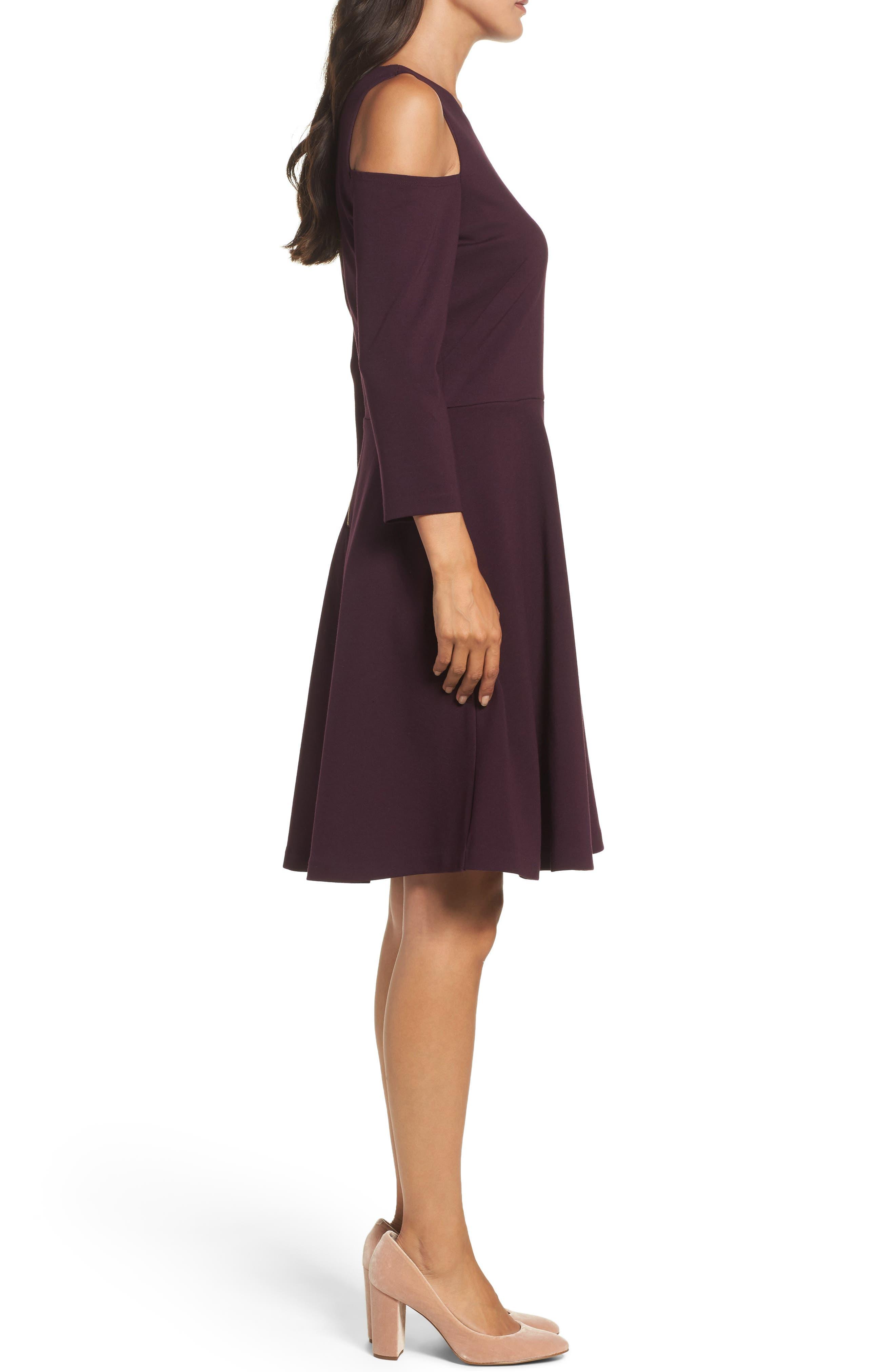 Alternate Image 3  - Eliza J Cold Shoulder Fit & Flare Dress (Regular & Petite)