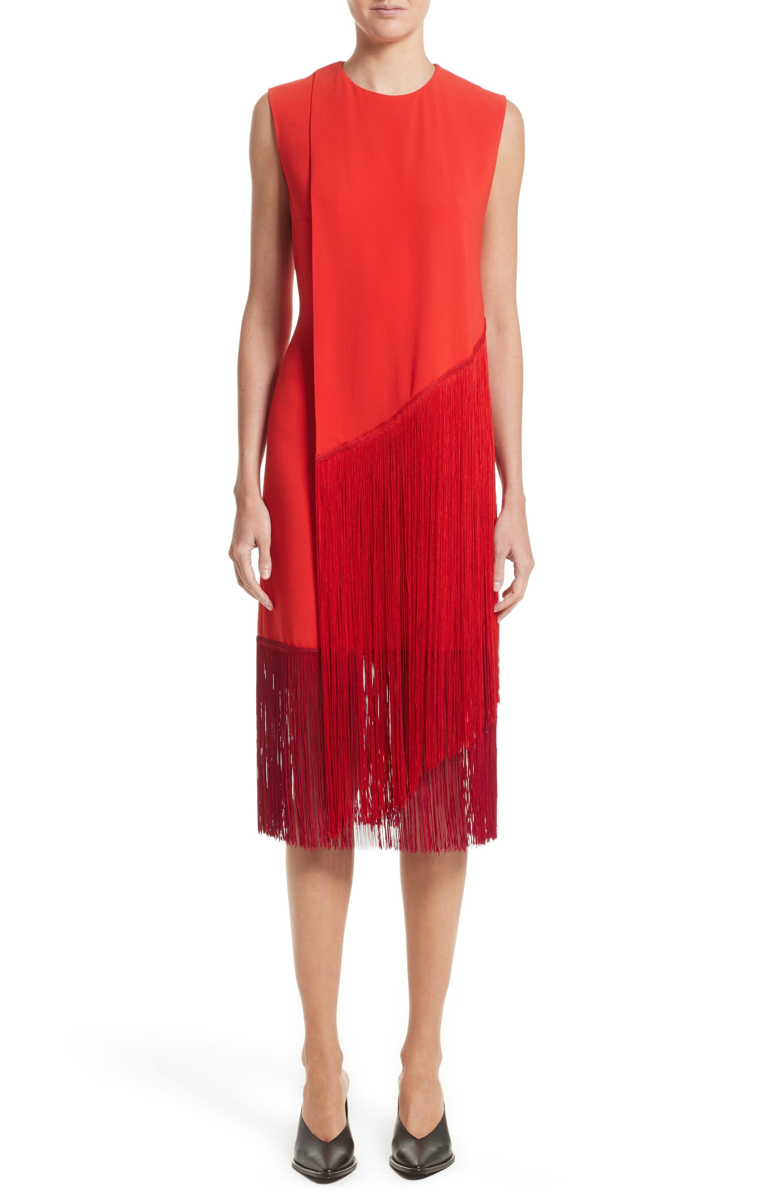 Fringe Overlay Dress,                         Main,                         color, Lipstick