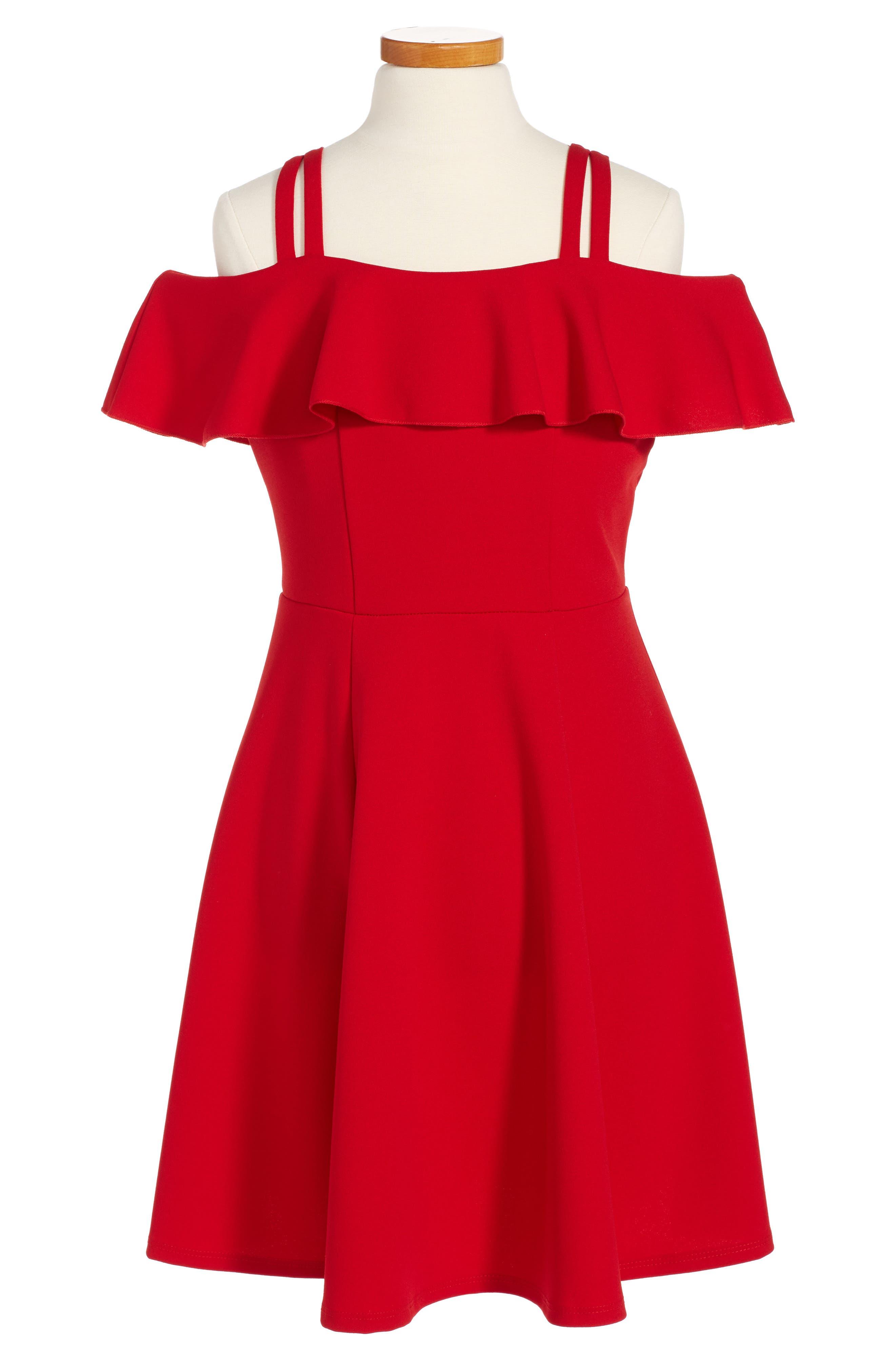 Alternate Image 1 Selected - Love, Nickie Lew Off the Shoulder Ruffle Dress (Big Girls)