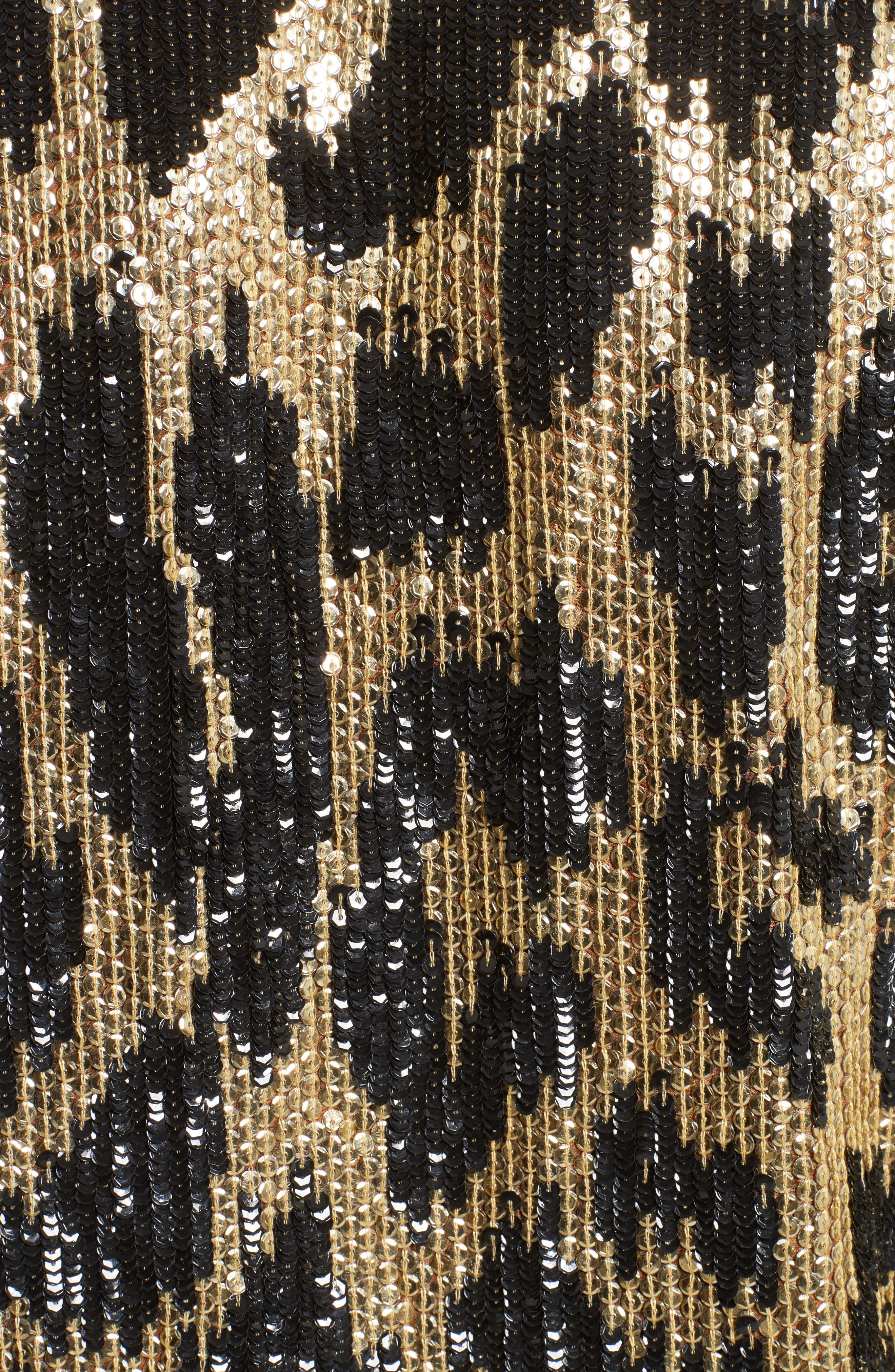 Cheetah Print Sequin Jacket,                             Alternate thumbnail 5, color,                             Black/ Gold