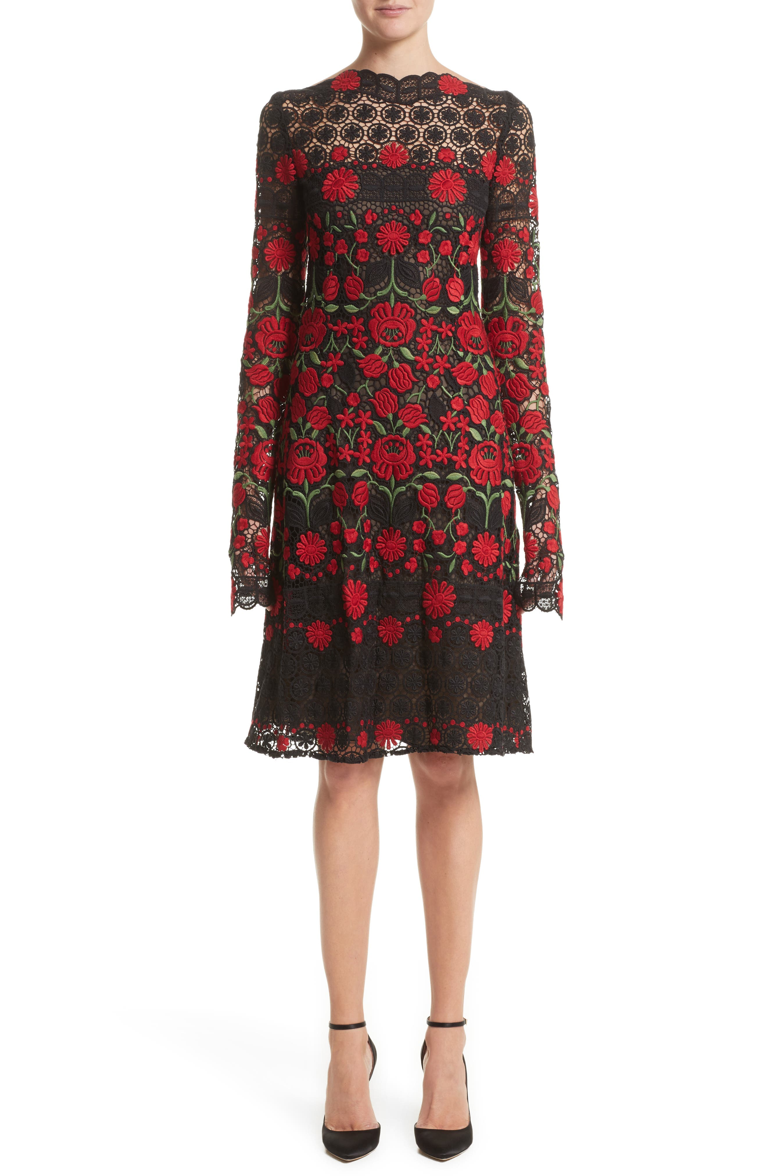 Main Image - Naeem Khan Floral Embroidered Elongated Sleeve Dress
