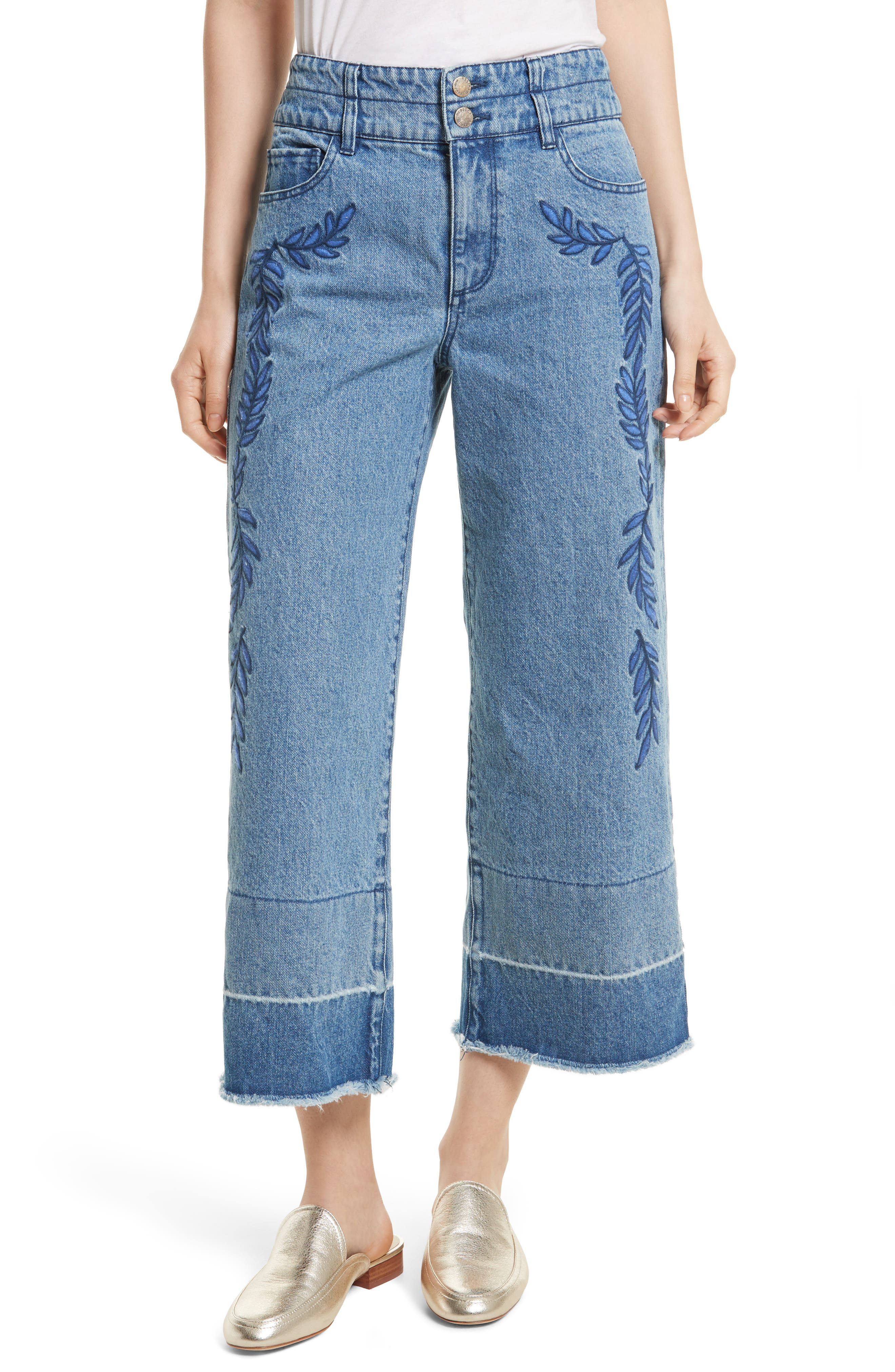 Starlight High Waist Crop Wide Leg Jeans,                         Main,                         color, Midwash