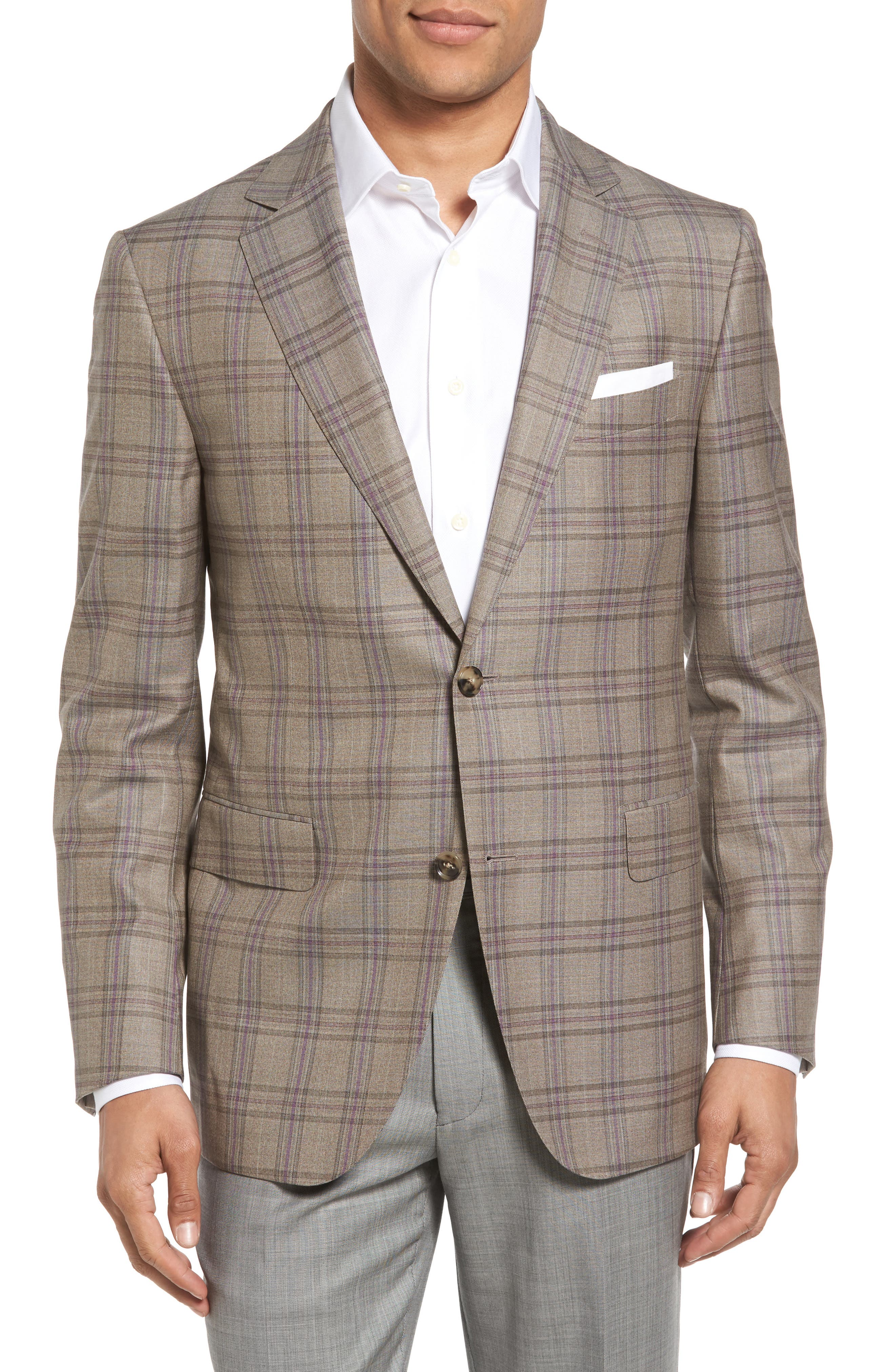 Classic Fit Plaid Wool Sport Coat,                         Main,                         color, Light Brown