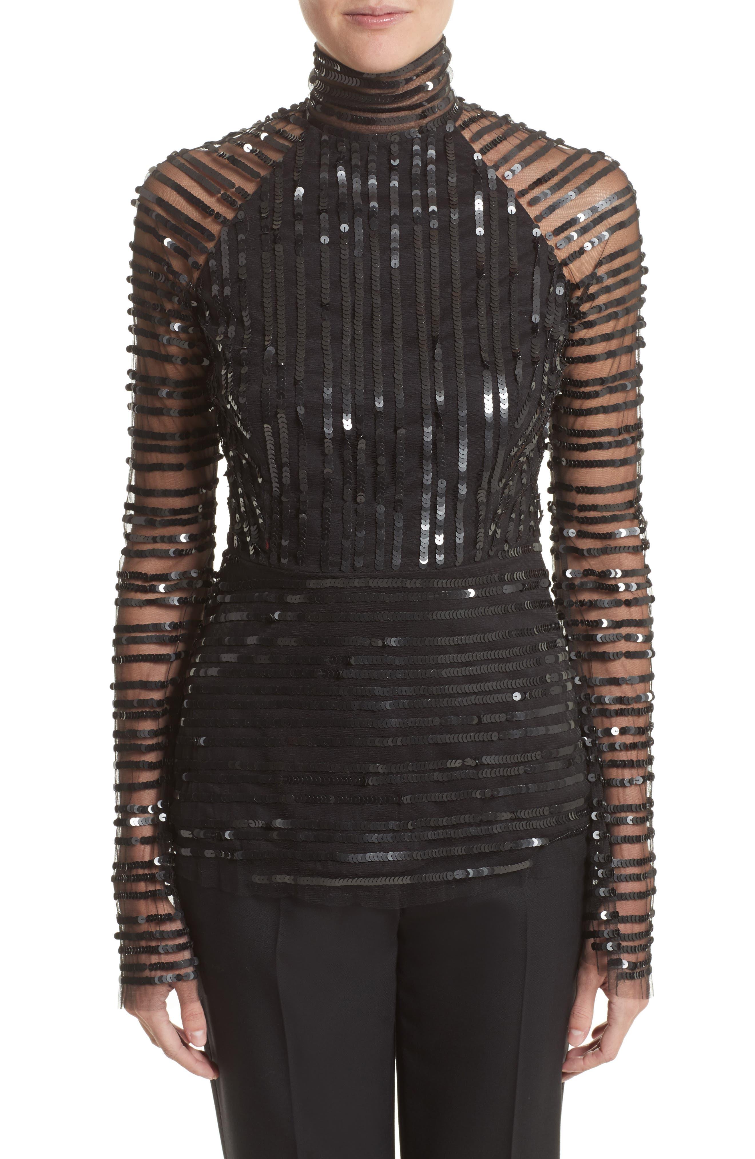 Rachel Gilbert Tuulia Sequin Stripe Bell Sleeve Top