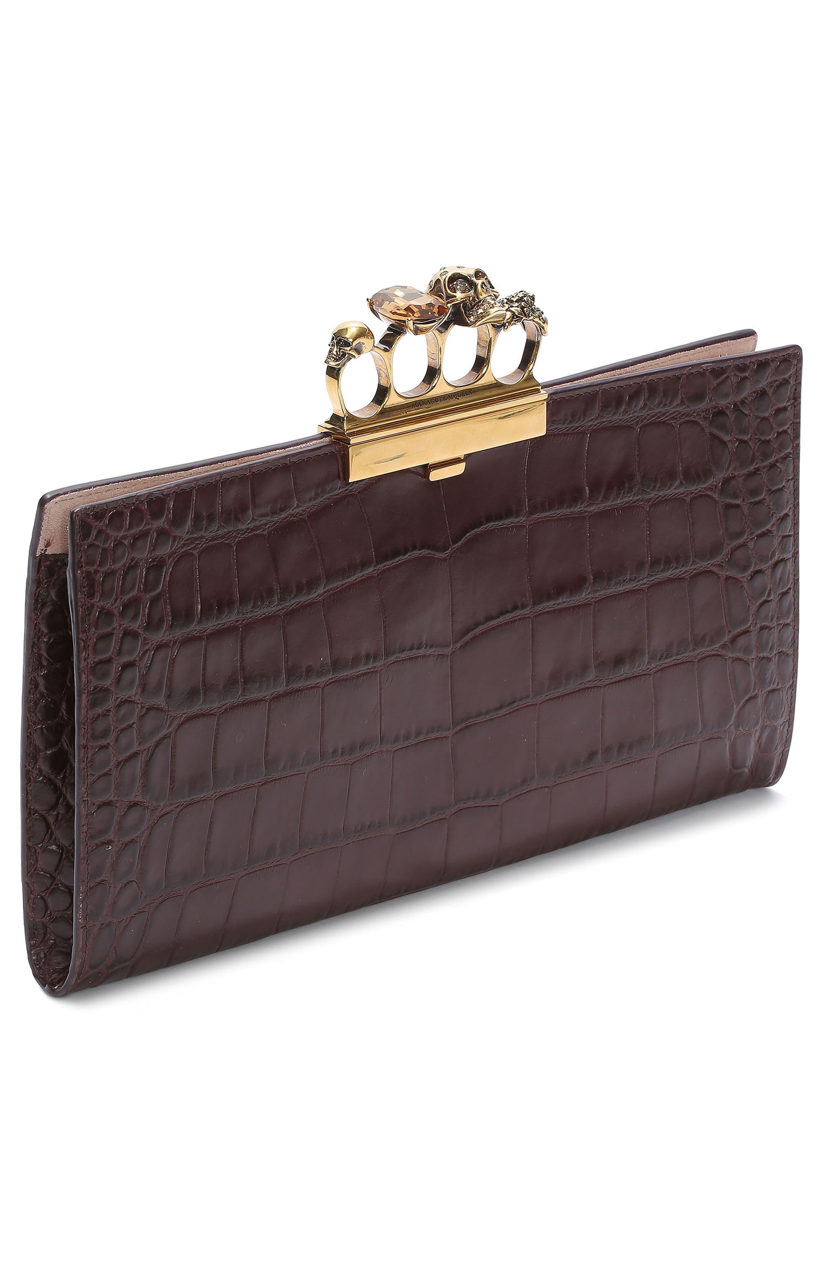 Croc Embossed Leather Knuckle Clutch,                             Alternate thumbnail 3, color,                             Burgundy
