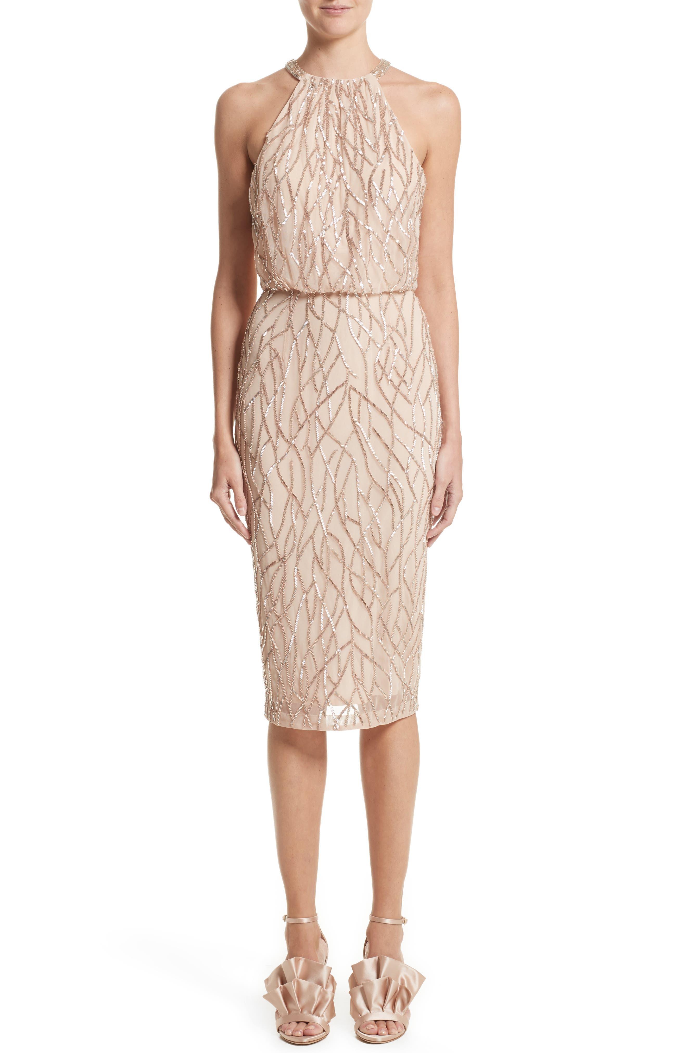 RACHEL GILBERT Toriana Beaded Halter Style Sheath Dress