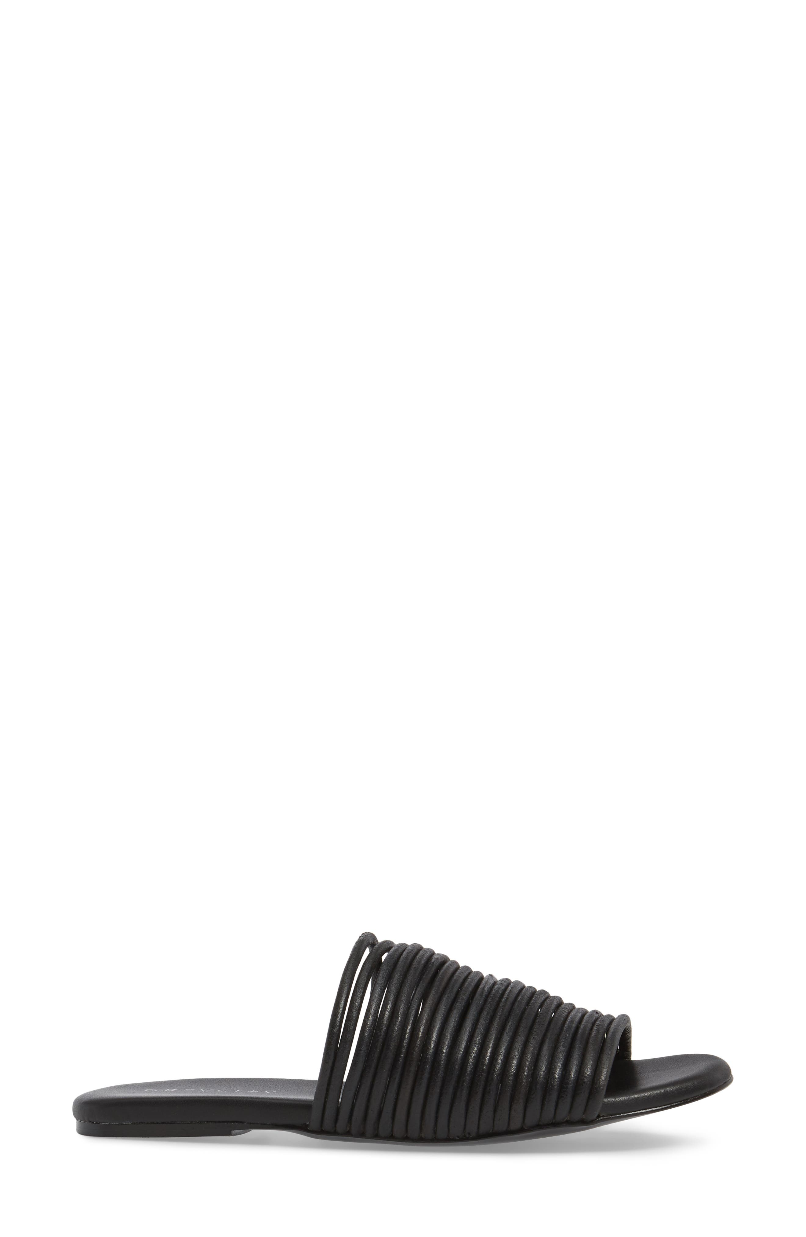 Nikki Corded Slide Sandal,                             Alternate thumbnail 3, color,                             Black
