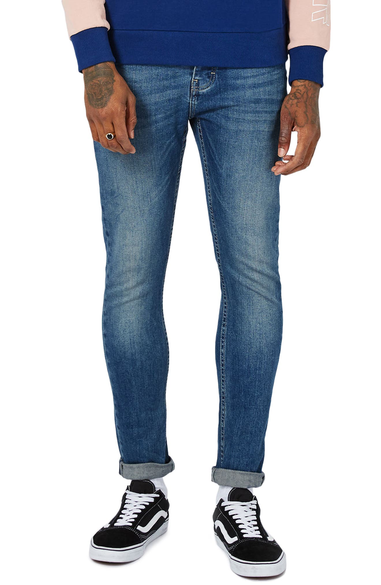Stretch Skinny Jeans,                             Main thumbnail 1, color,                             Mid Blue