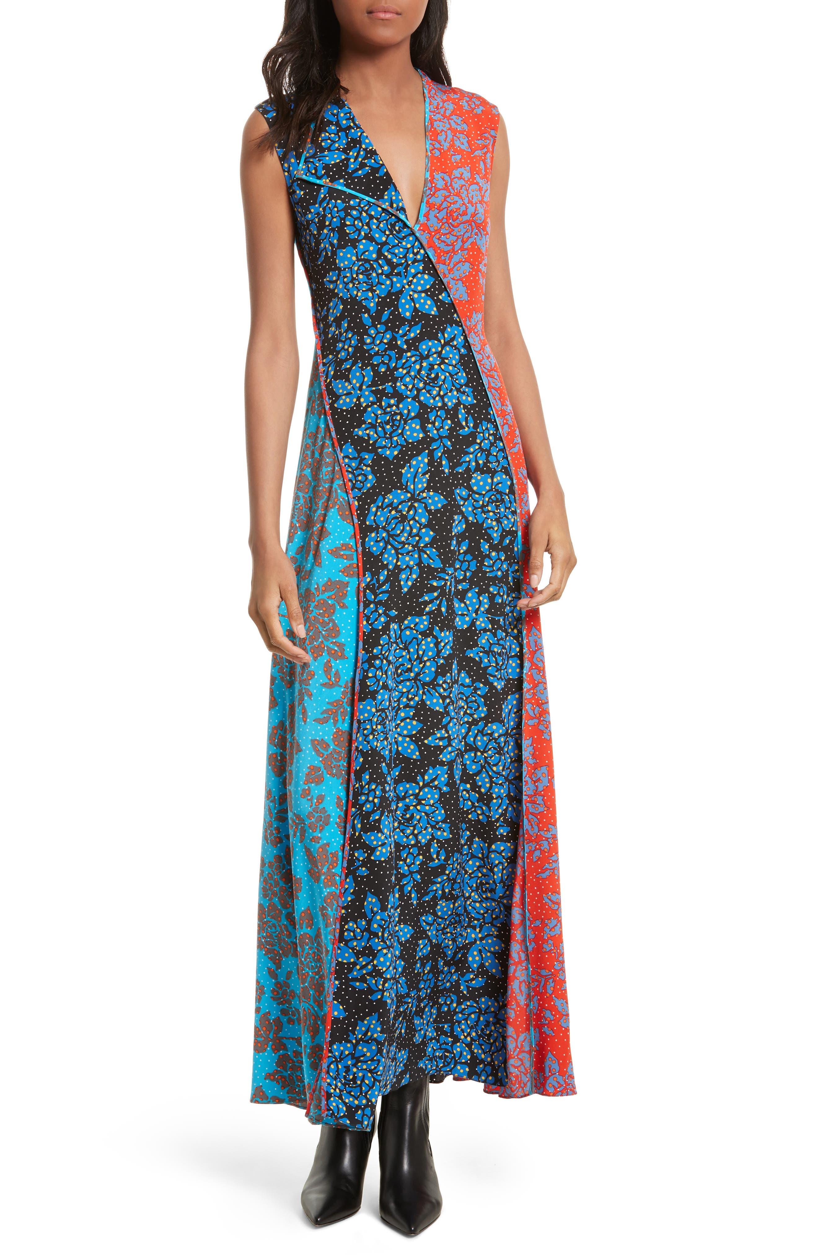 Diane von Furstenberg Paneled Print Silk Maxi Dress