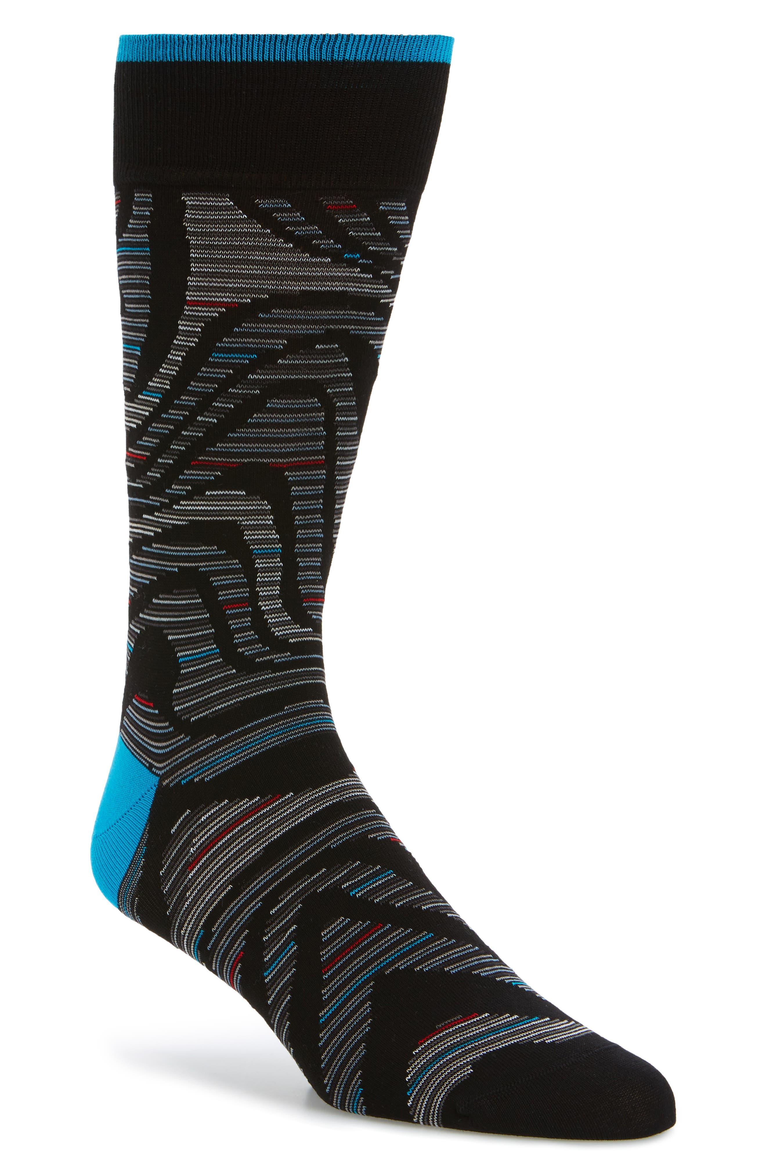 Pattern Socks,                         Main,                         color, Black
