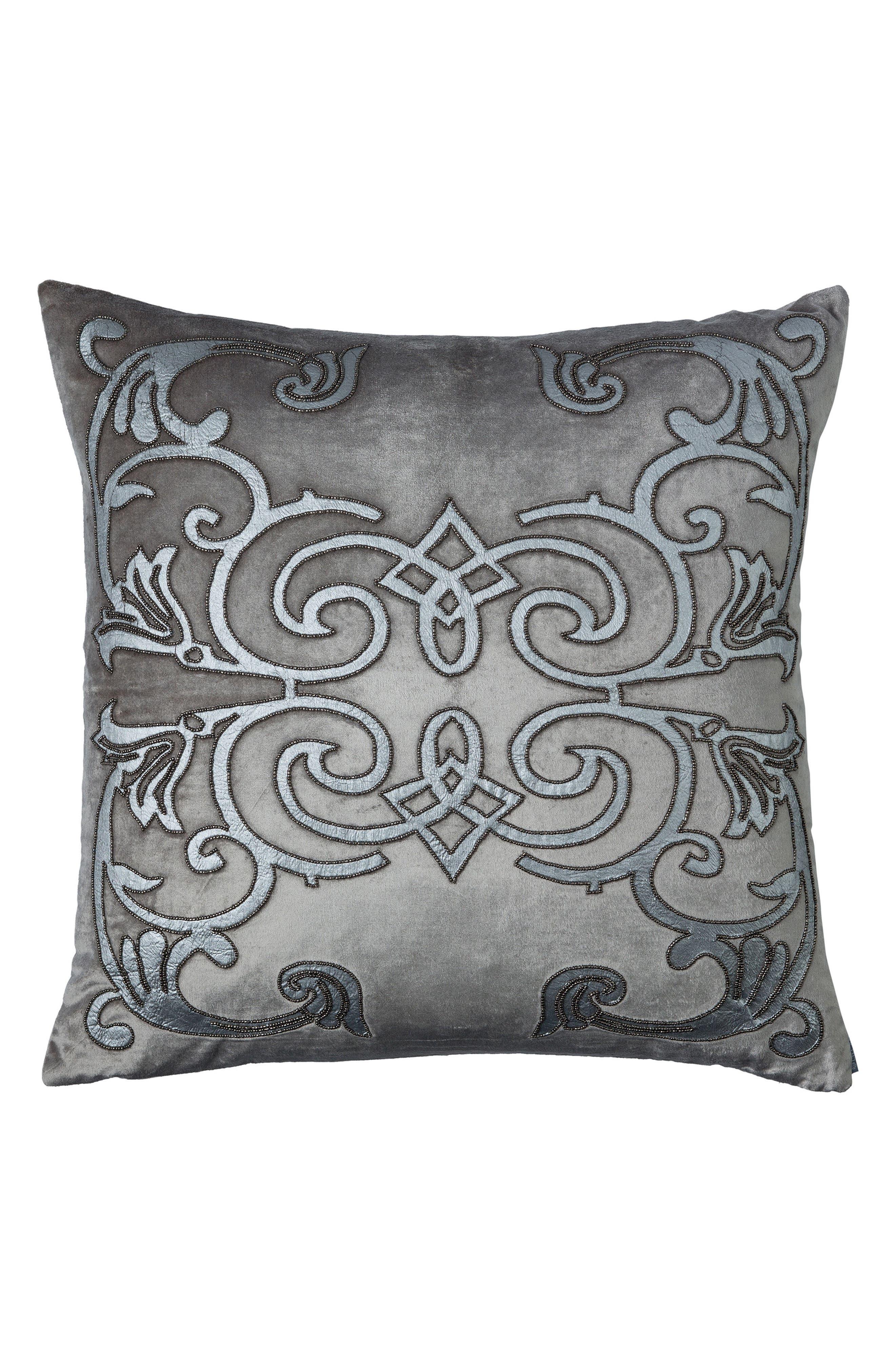 Mozart Square Accent Pillow,                         Main,                         color, Platnium