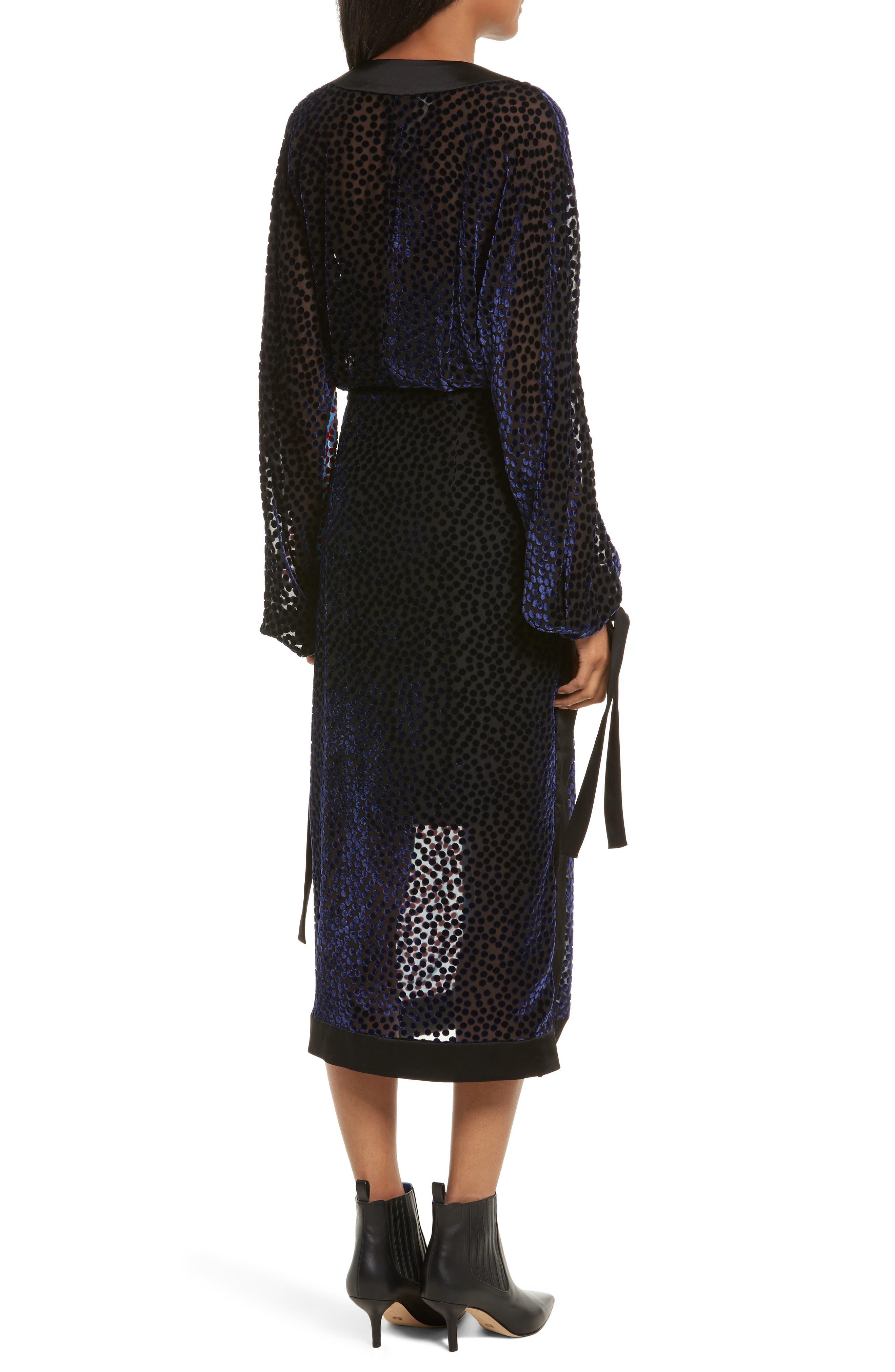 Burnout Velvet Kimono Wrap Dress,                             Alternate thumbnail 2, color,                             Deep Violet Multi