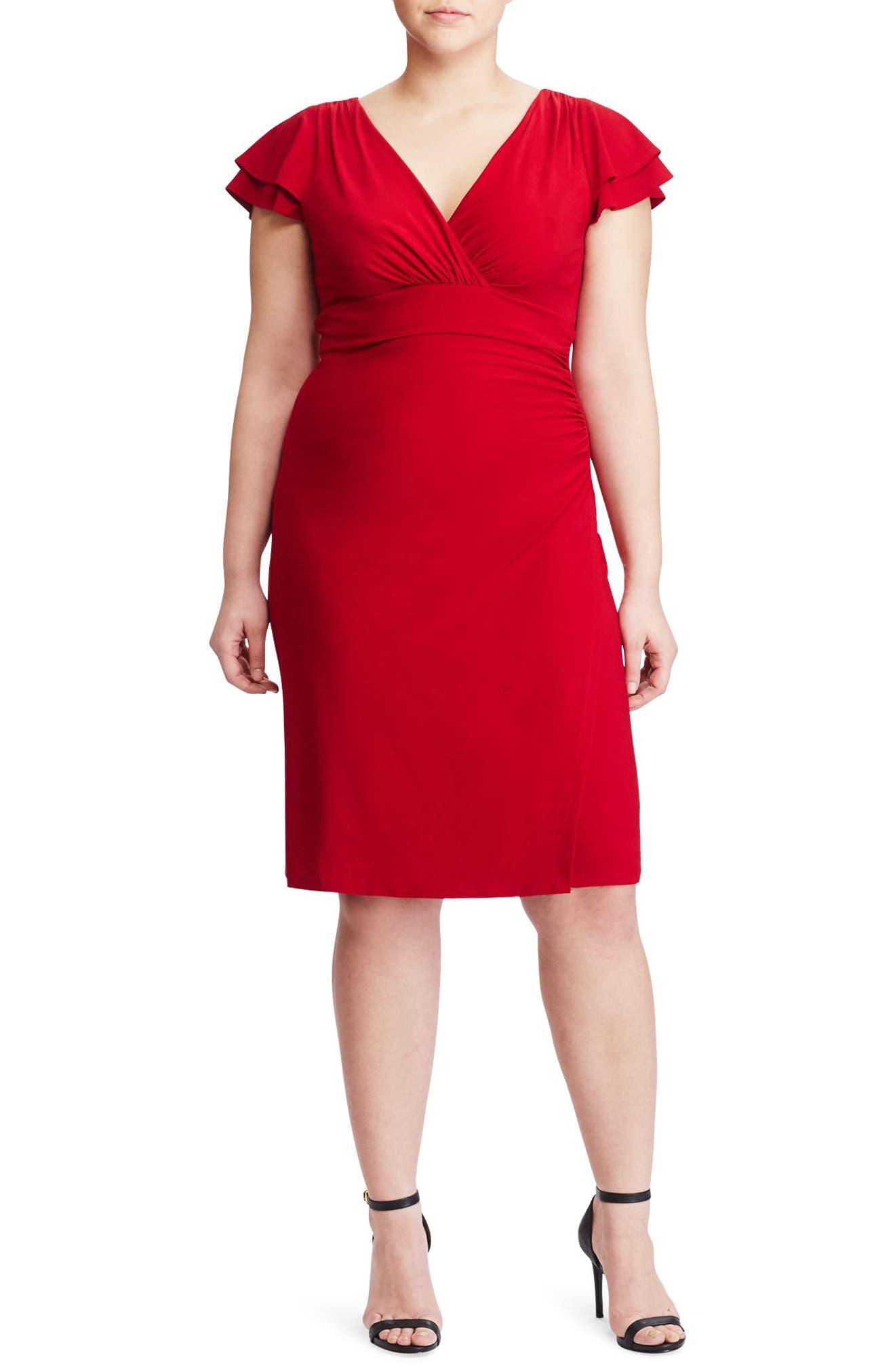 Lauren Ralph Lauren Flutter Sleeve Jersey Sheath Dress (Plus Size)