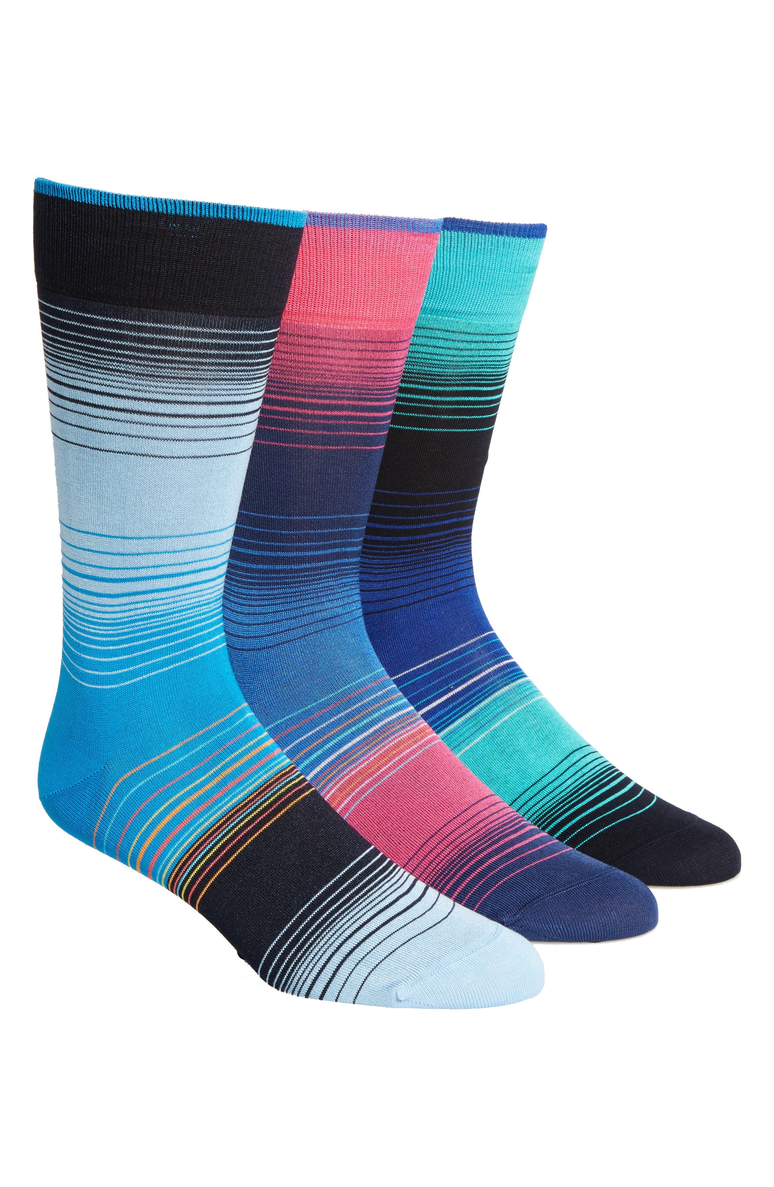 3-Pack Cotton Blend Socks,                         Main,                         color, Blue/ Navy/ Light Blue Stripe
