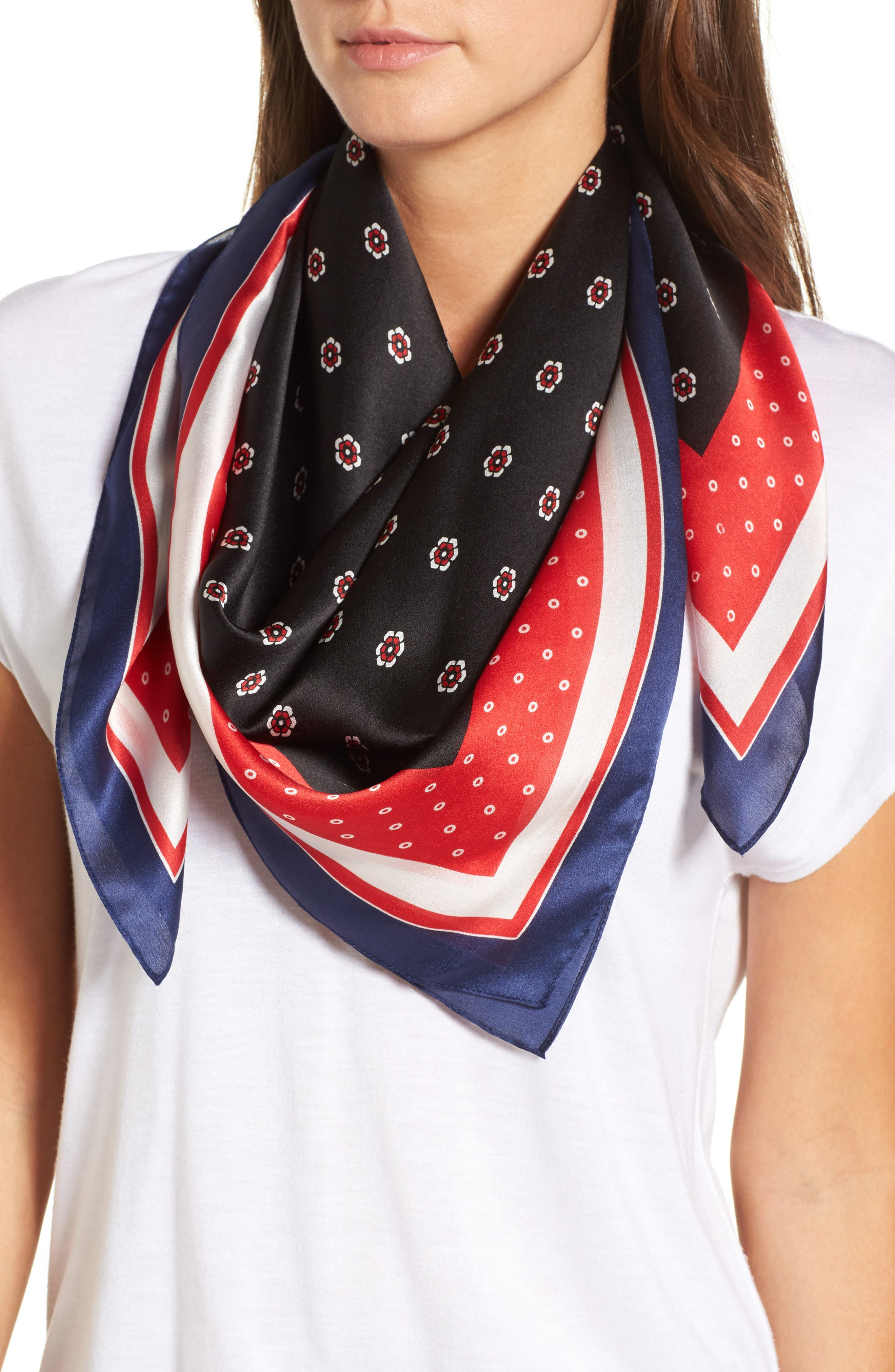 Halogen® Ditsy Foulard Square Silk Scarf