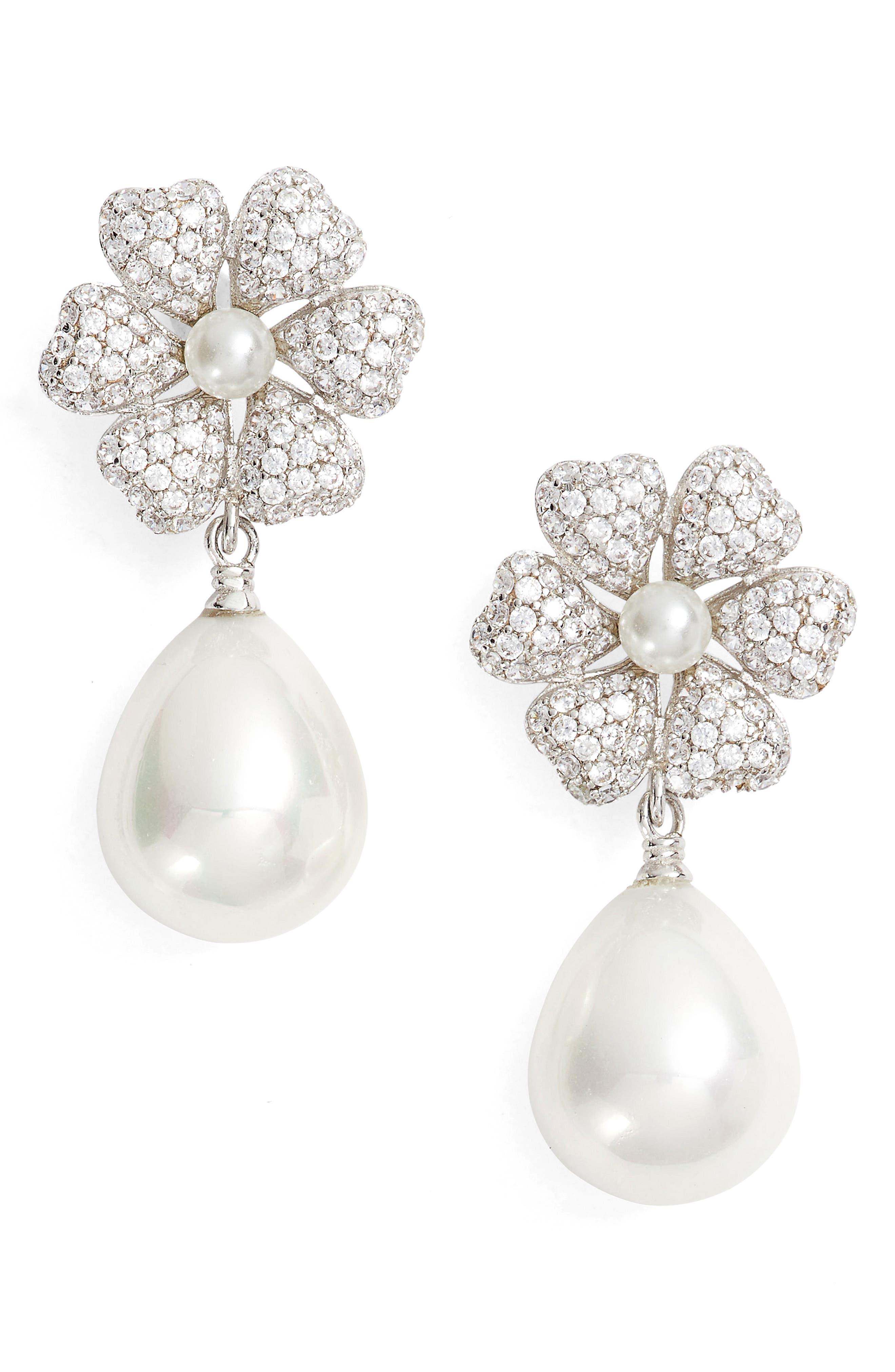 Imitation Pearl & Crystal Drop Earrings,                             Main thumbnail 1, color,                             Ivory Pearl / Silver