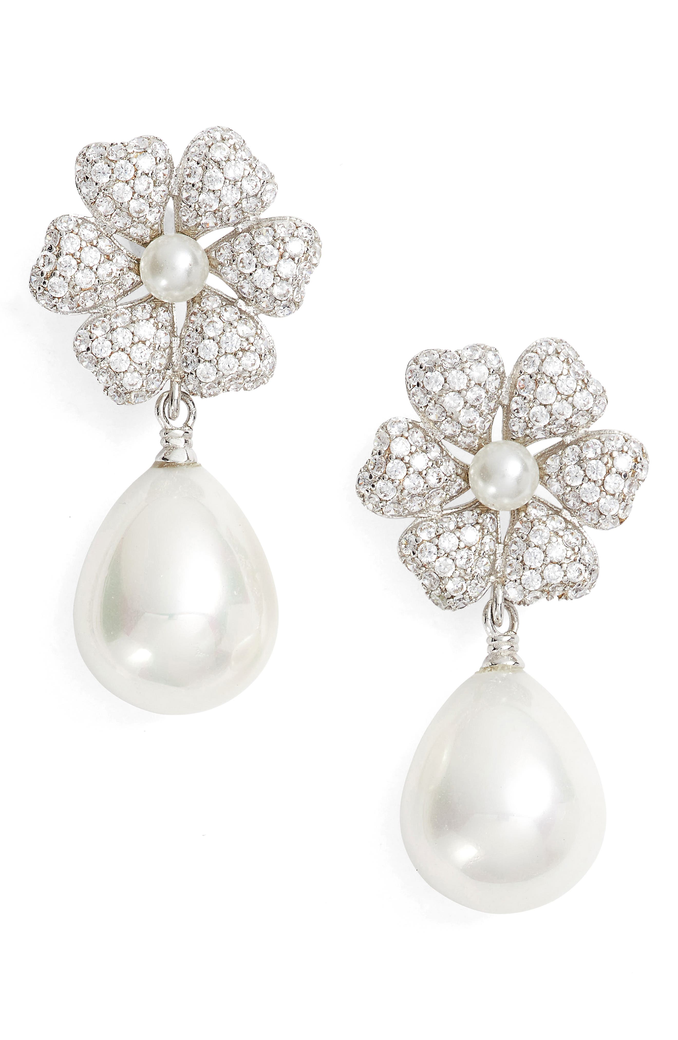 Imitation Pearl & Crystal Drop Earrings,                         Main,                         color, Ivory Pearl / Silver