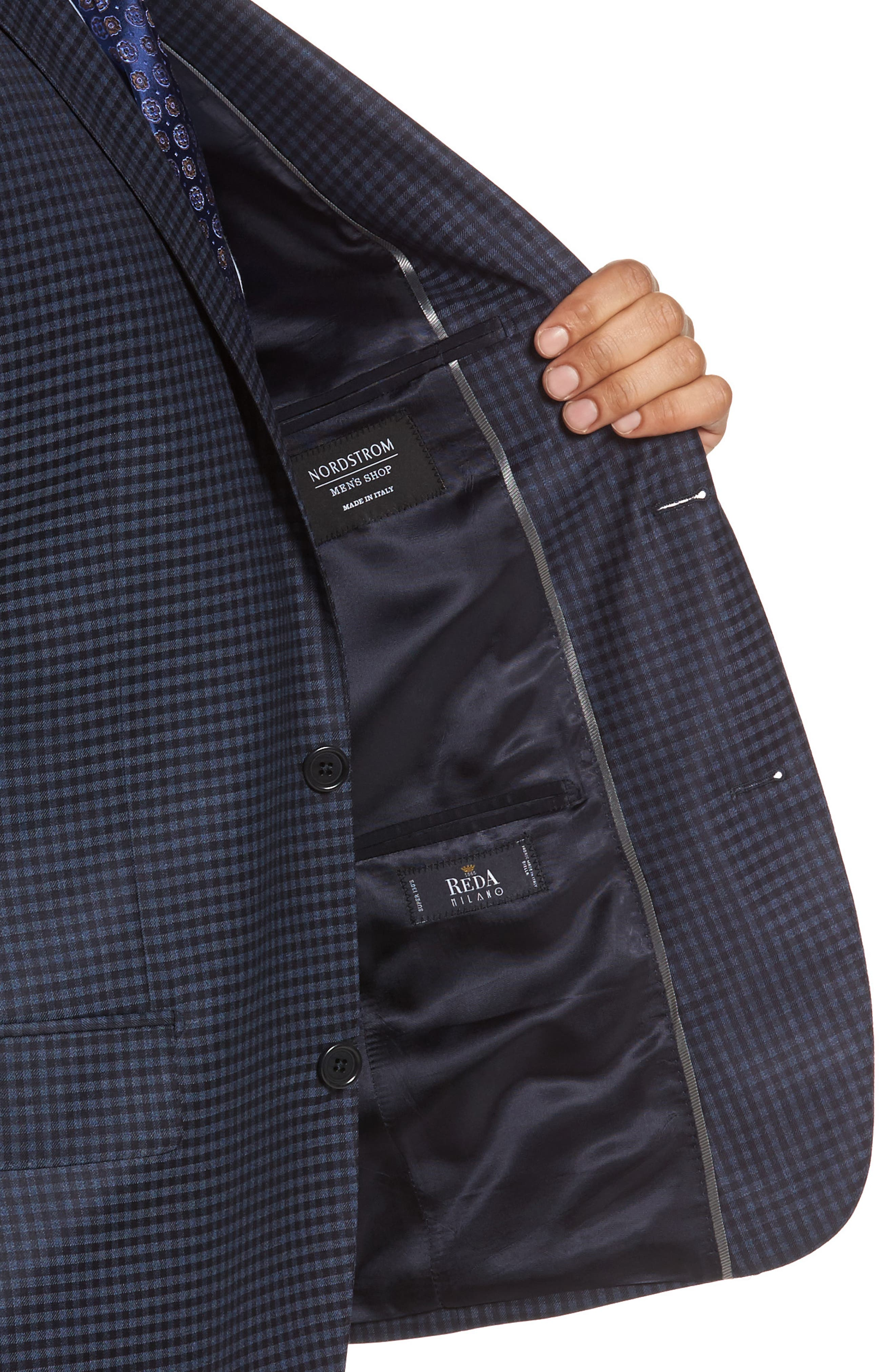 Classic Fit Check Wool Sport Coat,                             Alternate thumbnail 4, color,                             Navy