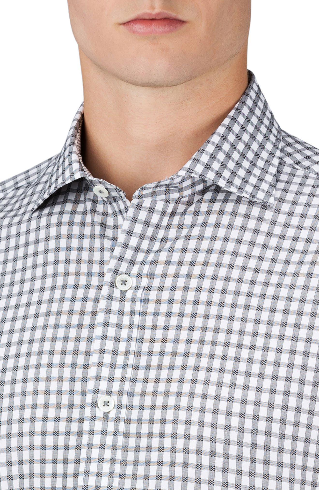Shaped Fit Check Sport Shirt,                             Alternate thumbnail 3, color,                             Graphite