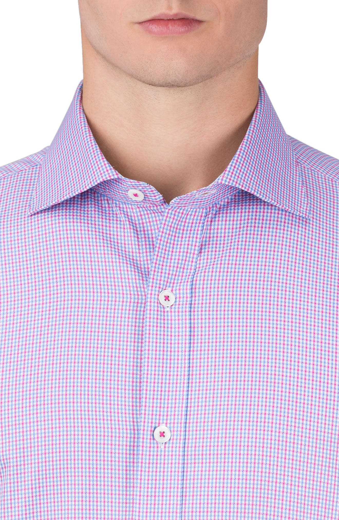 Classic Fit Plaid Sport Shirt,                             Alternate thumbnail 3, color,                             Coral