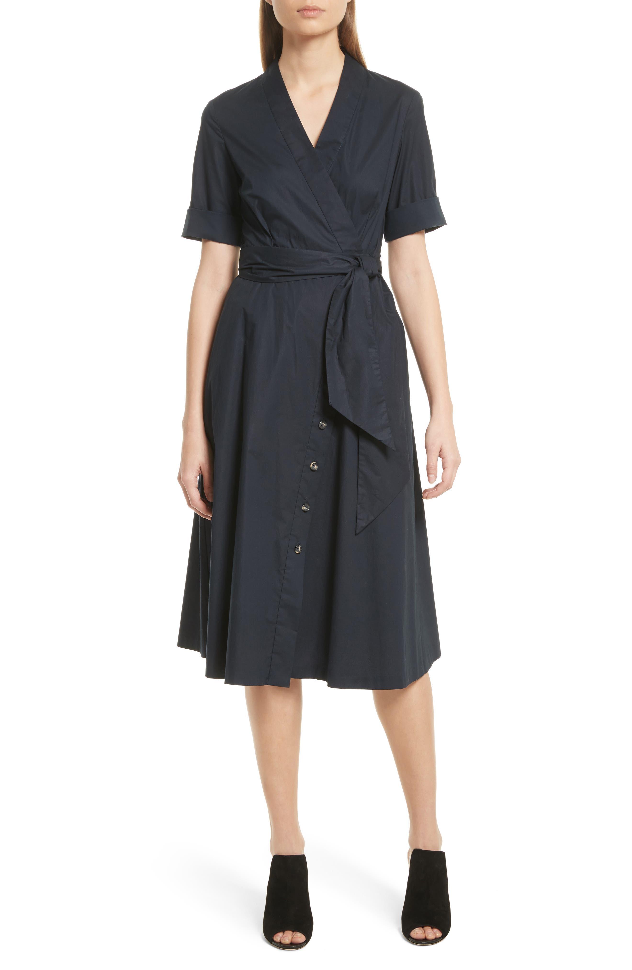 Mae B Wrap Shirtdress,                             Main thumbnail 1, color,                             Navy