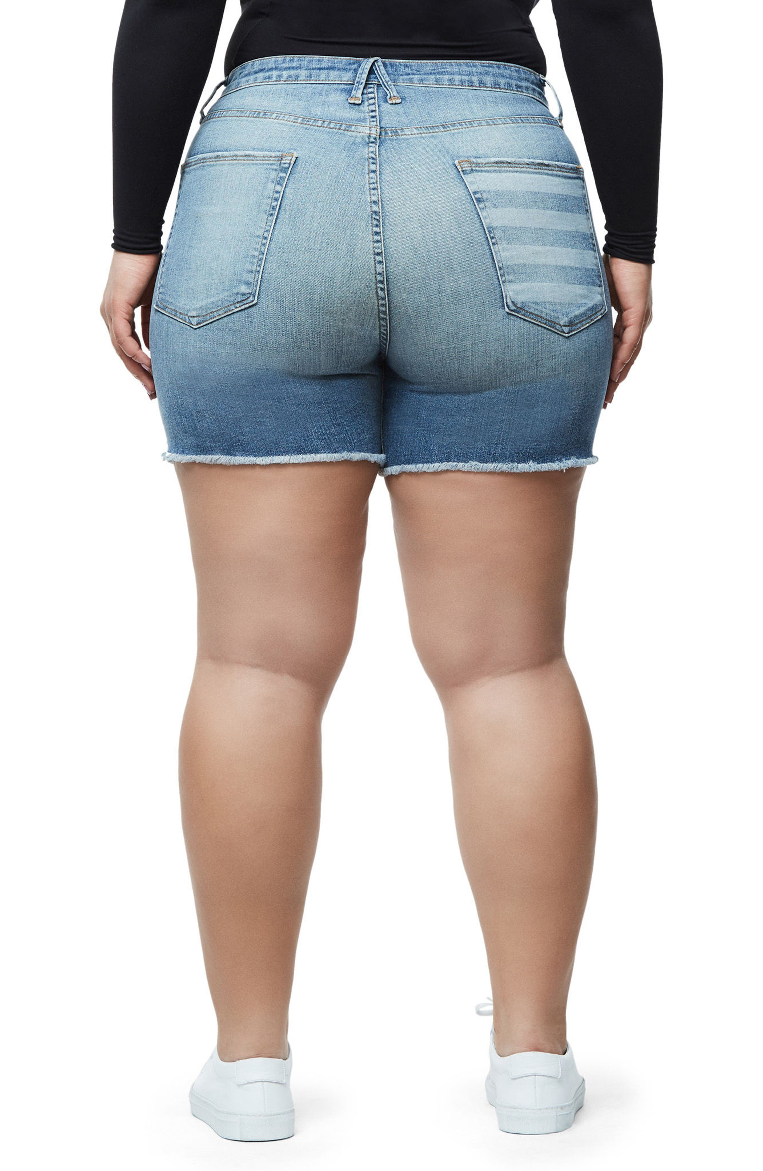 Alternate Image 8  - Good American High Waist Denim Cutoff Shorts (Extended Sizes)
