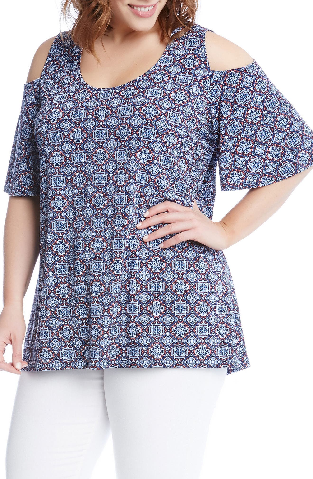 Medallion Print Cold Shoulder Top,                             Alternate thumbnail 3, color,                             Print