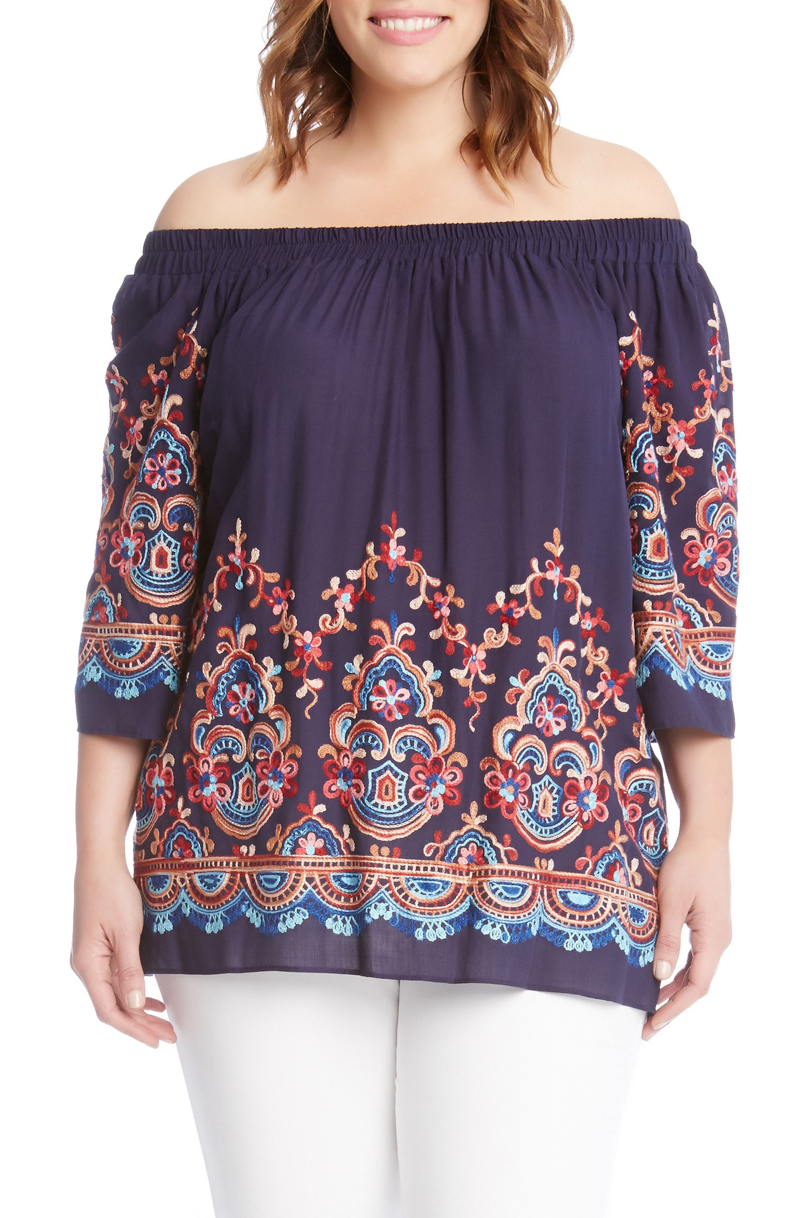 Embroidered Off the Shoulder Top,                         Main,                         color, Navy