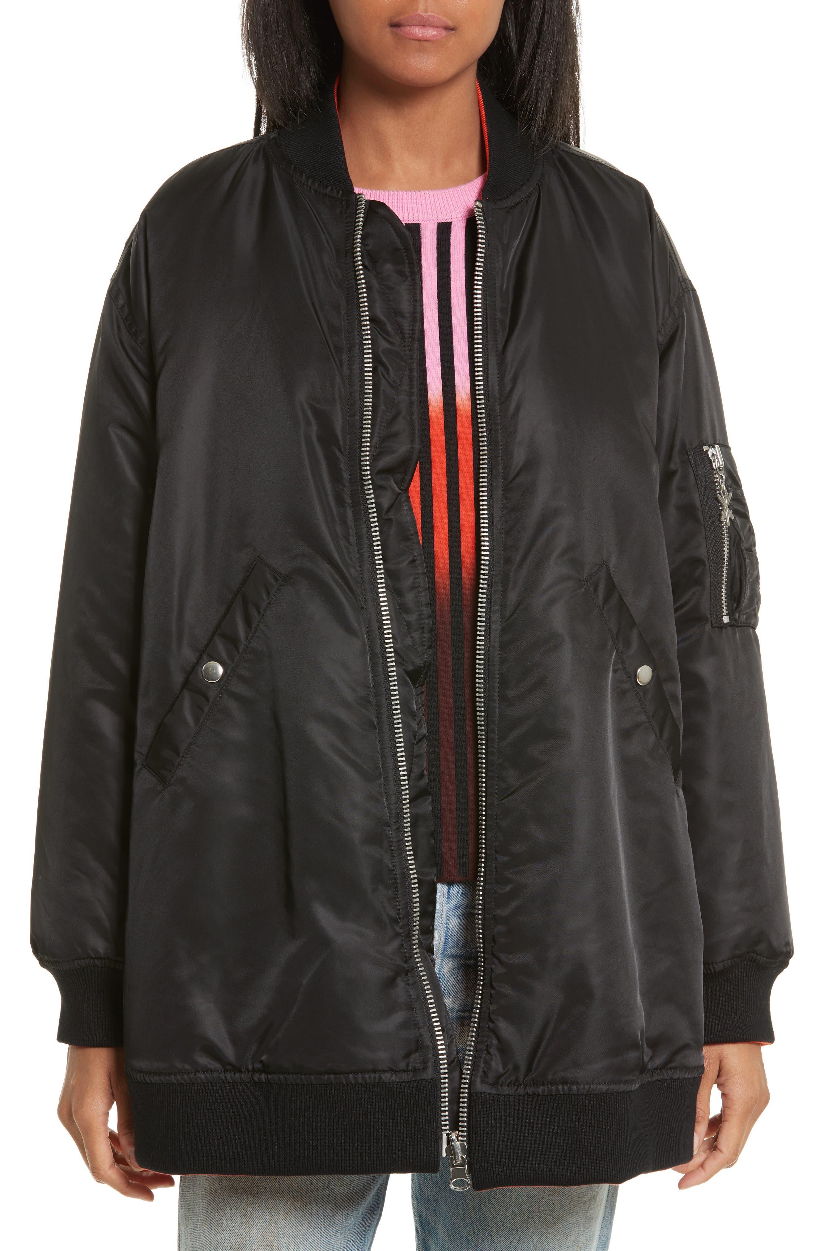 Reversible Bomber Jacket,                             Main thumbnail 1, color,                             Black